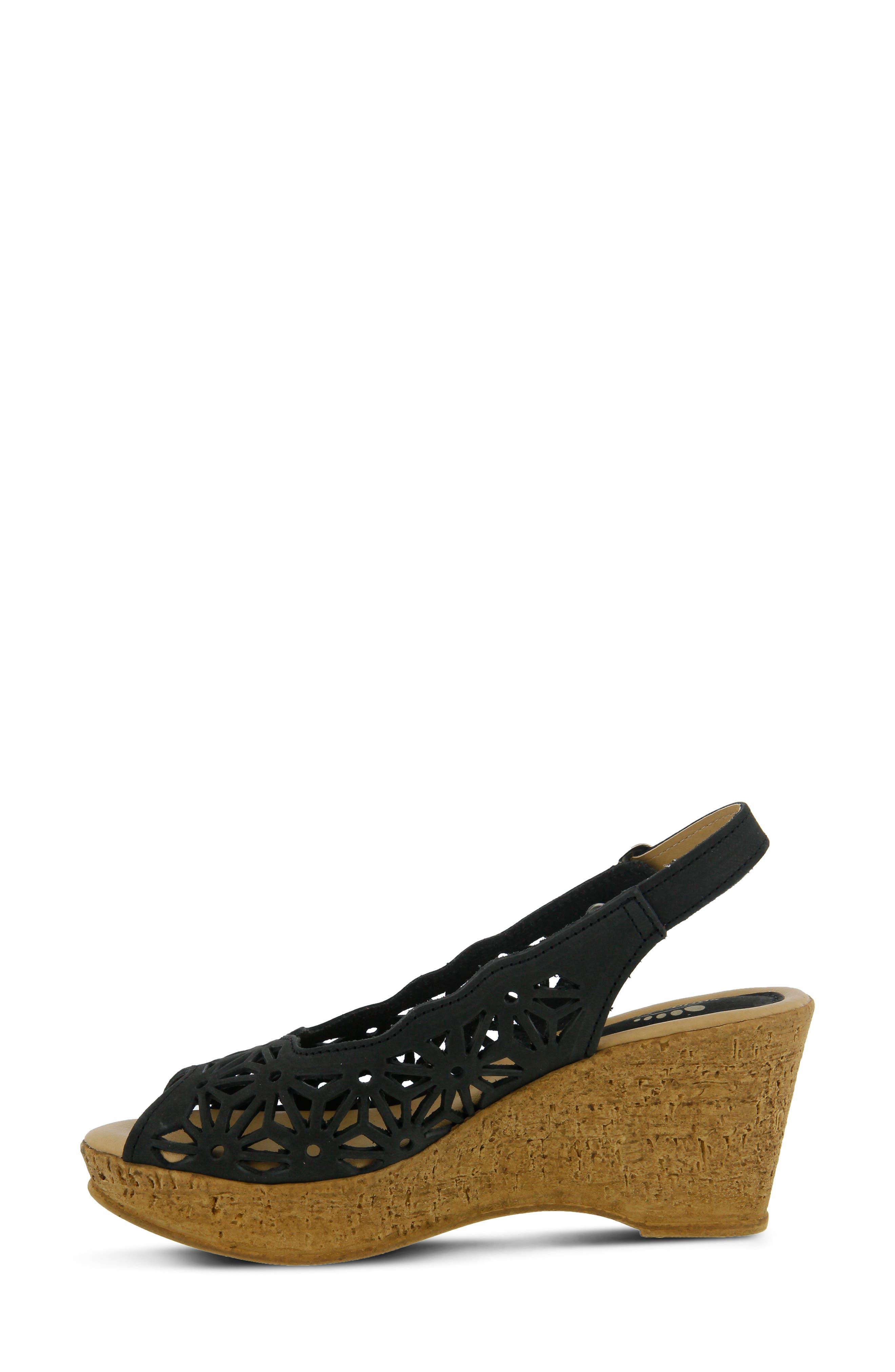 SPRING STEP,                             Abigail Platform Wedge Sandal,                             Alternate thumbnail 6, color,                             BLACK LEATHER