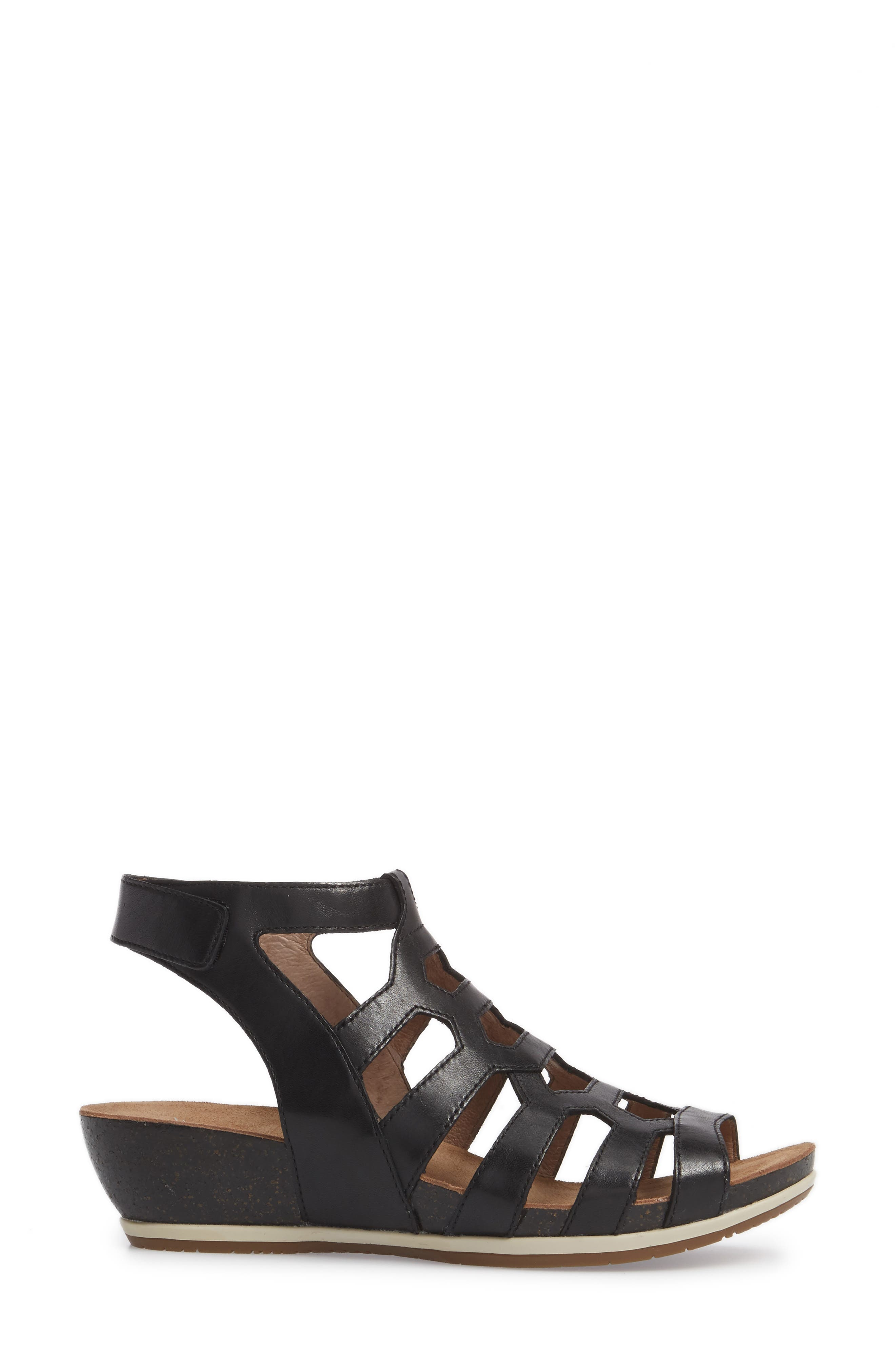 Valentina Caged Wedge Sandal,                             Alternate thumbnail 3, color,                             001