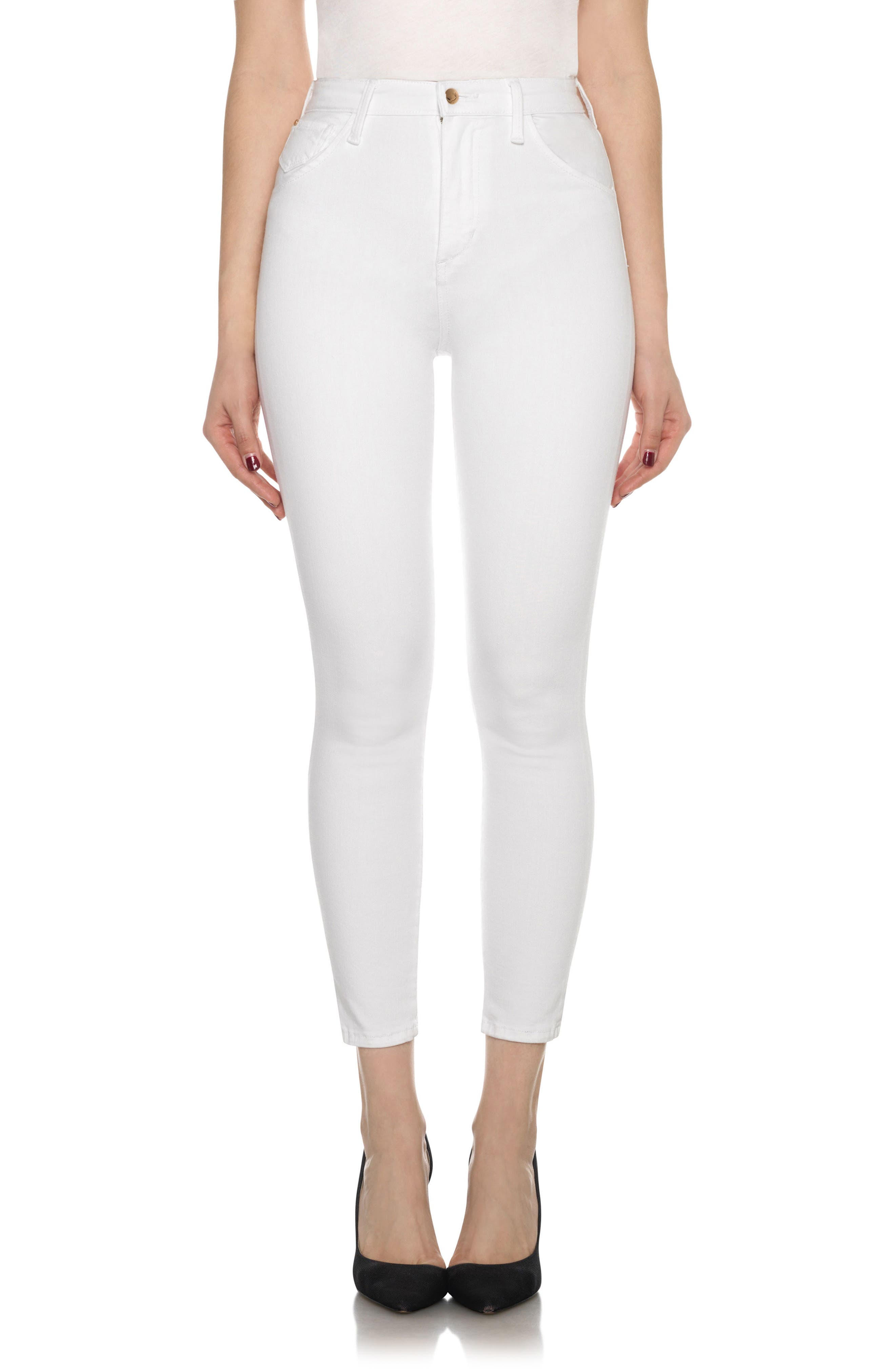 Bella High Waist Crop Skinny Jeans,                         Main,                         color, 120