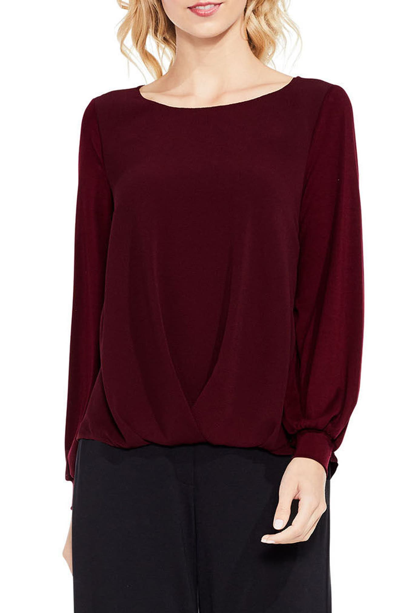 Long Sleeve Foldover Mix Media Blouse,                             Main thumbnail 1, color,                             930