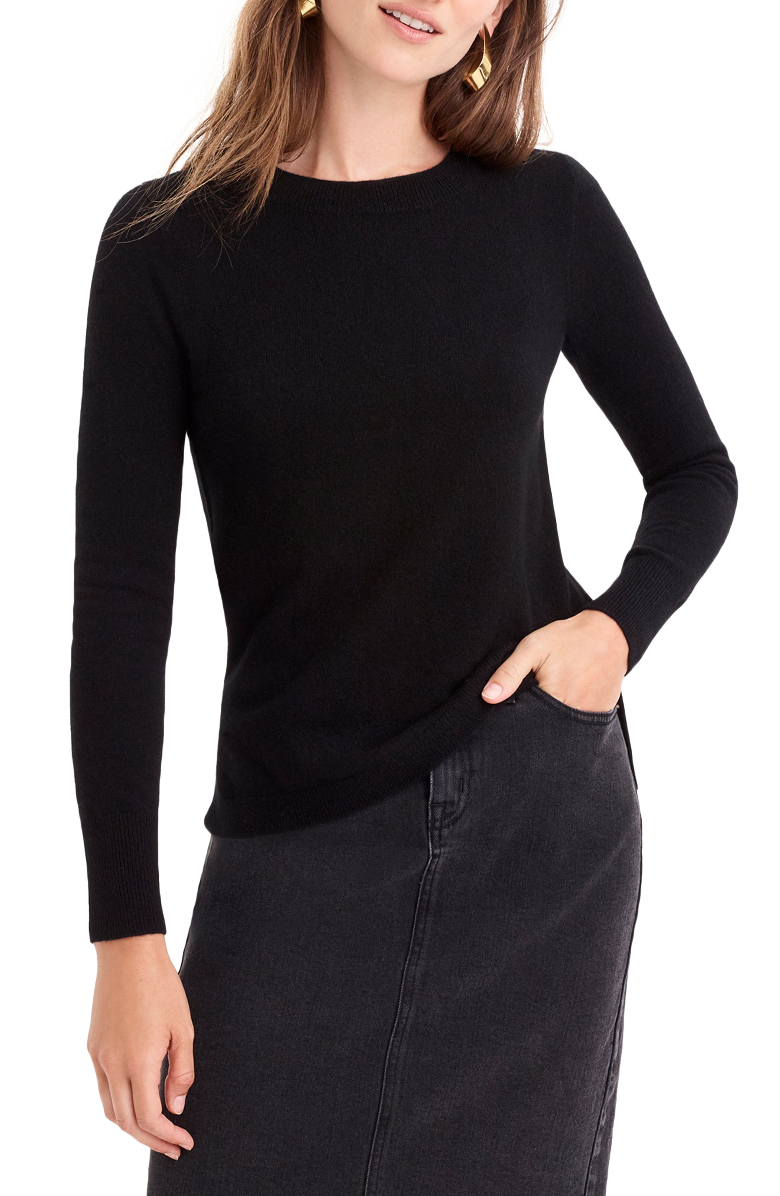 J.CREW,                             Crewneck Cashmere Sweater,                             Main thumbnail 1, color,                             BLACK