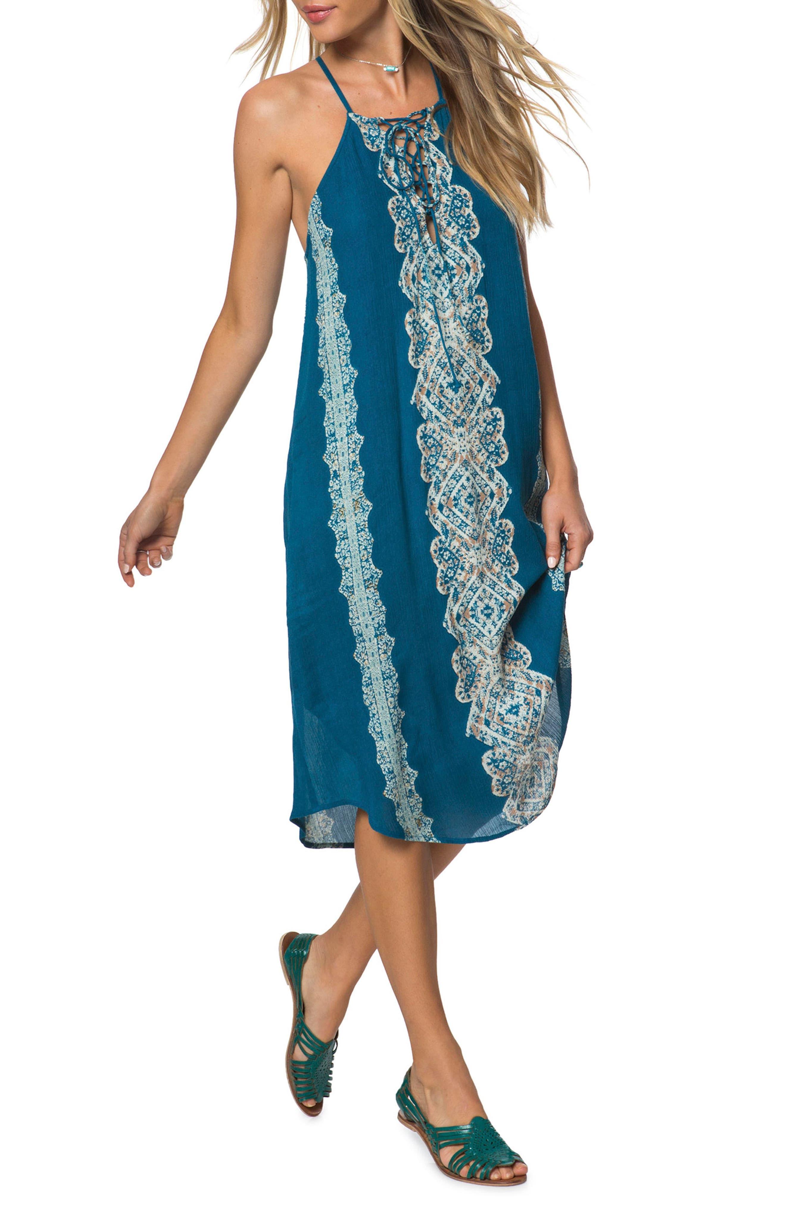 Nicole Lace-Up Midi Dress,                         Main,                         color, 435