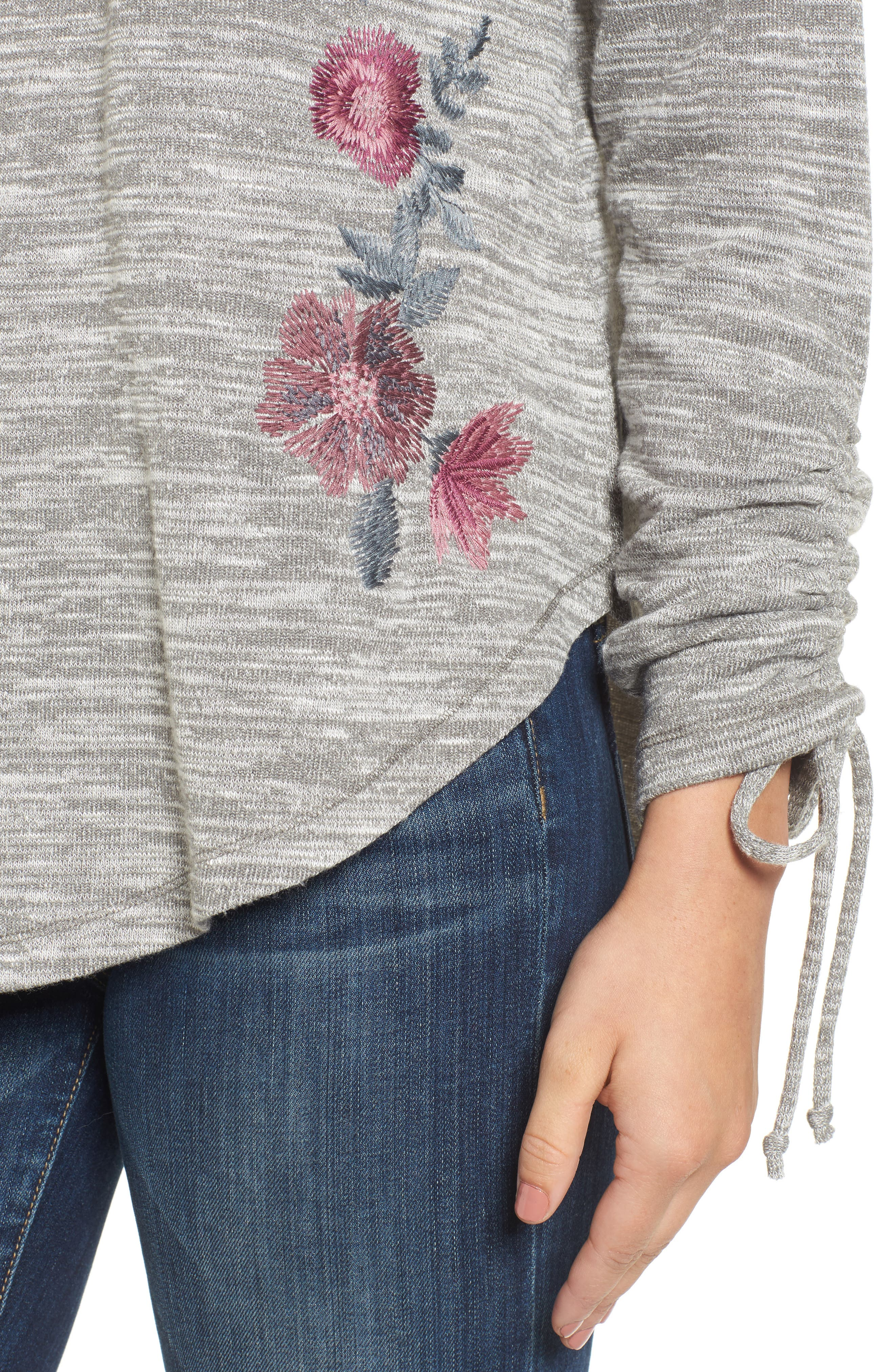 Hacci Embroidered Sweatshirt,                             Alternate thumbnail 4, color,                             022