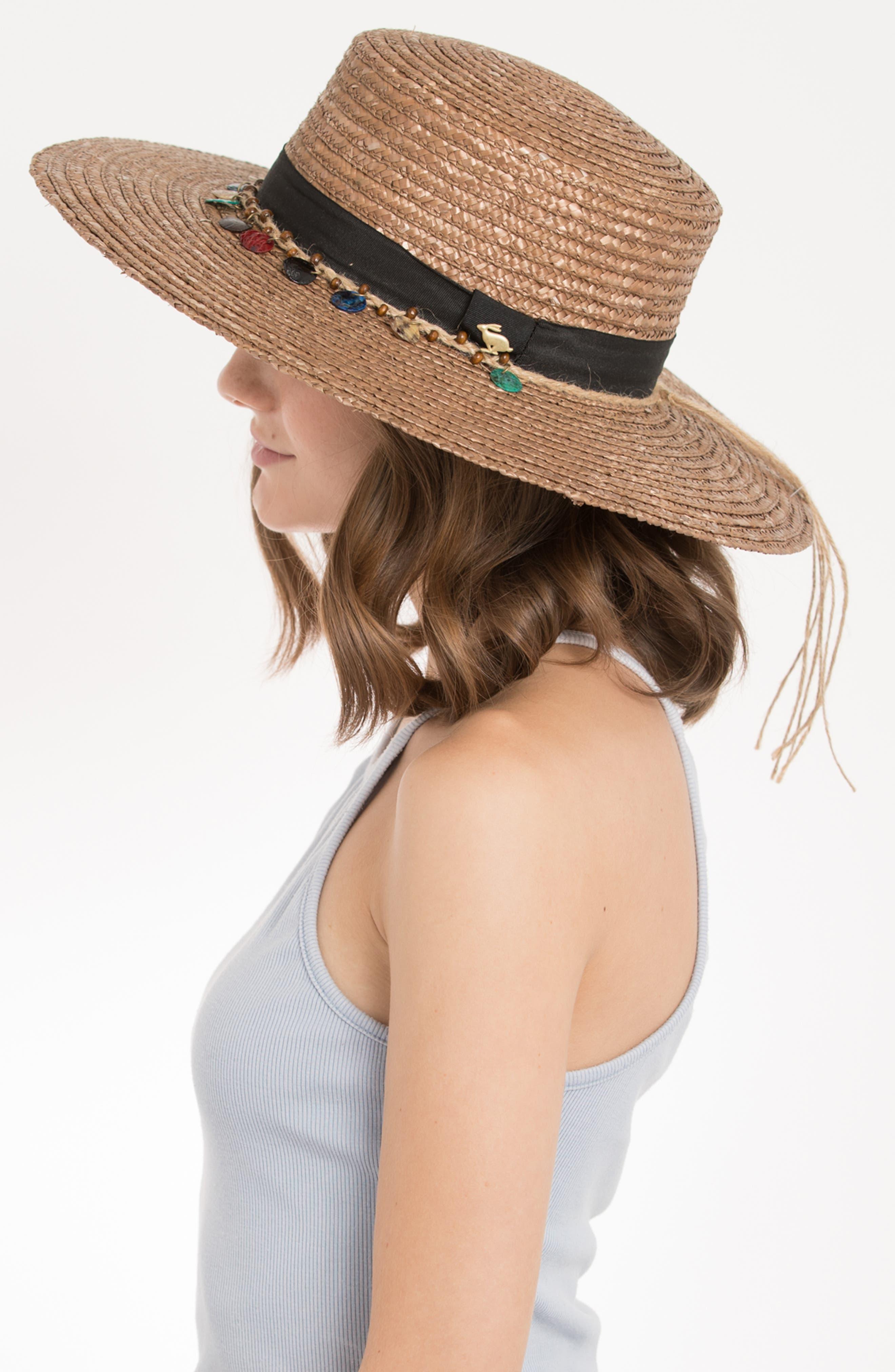 Clau Straw Resort Hat,                             Alternate thumbnail 3, color,                             BROWN