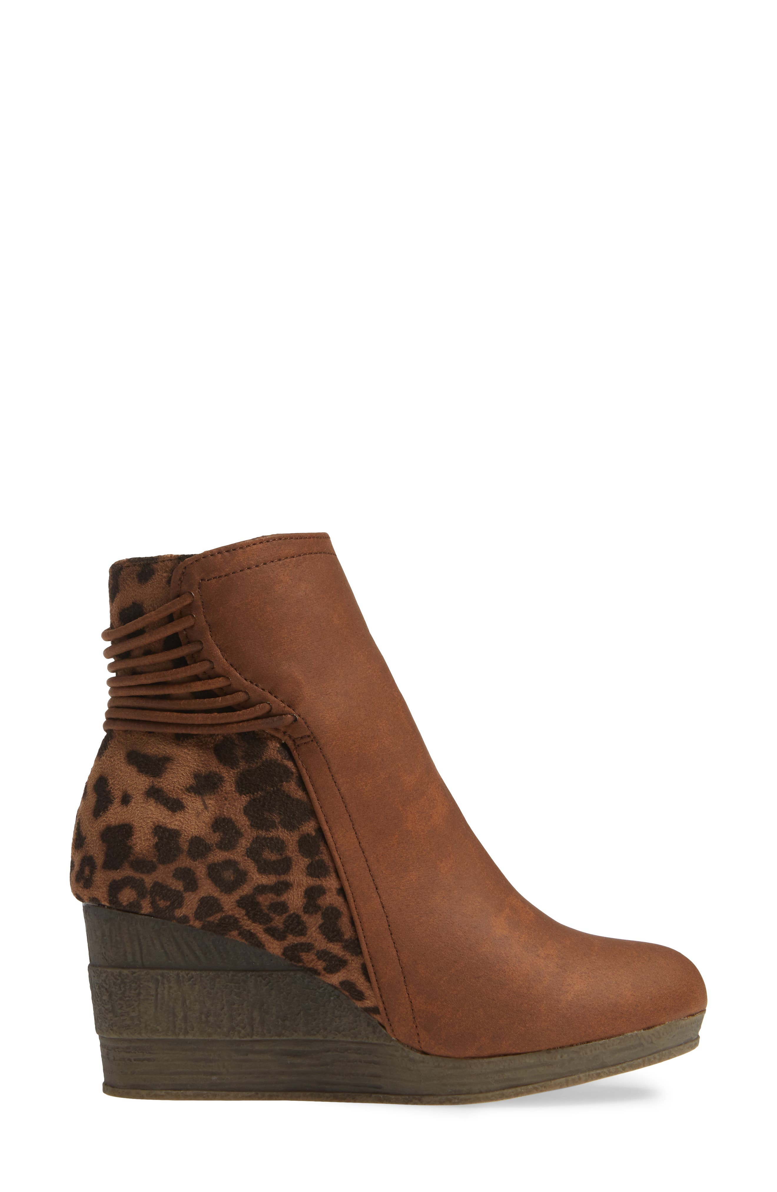 SBICCA,                             Colleen Wedge Boot,                             Alternate thumbnail 3, color,                             TAN LEOPARD FABRIC