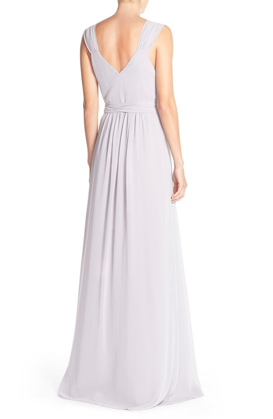 Newbury Gathered Sleeve Chiffon Wrap Gown,                             Alternate thumbnail 19, color,