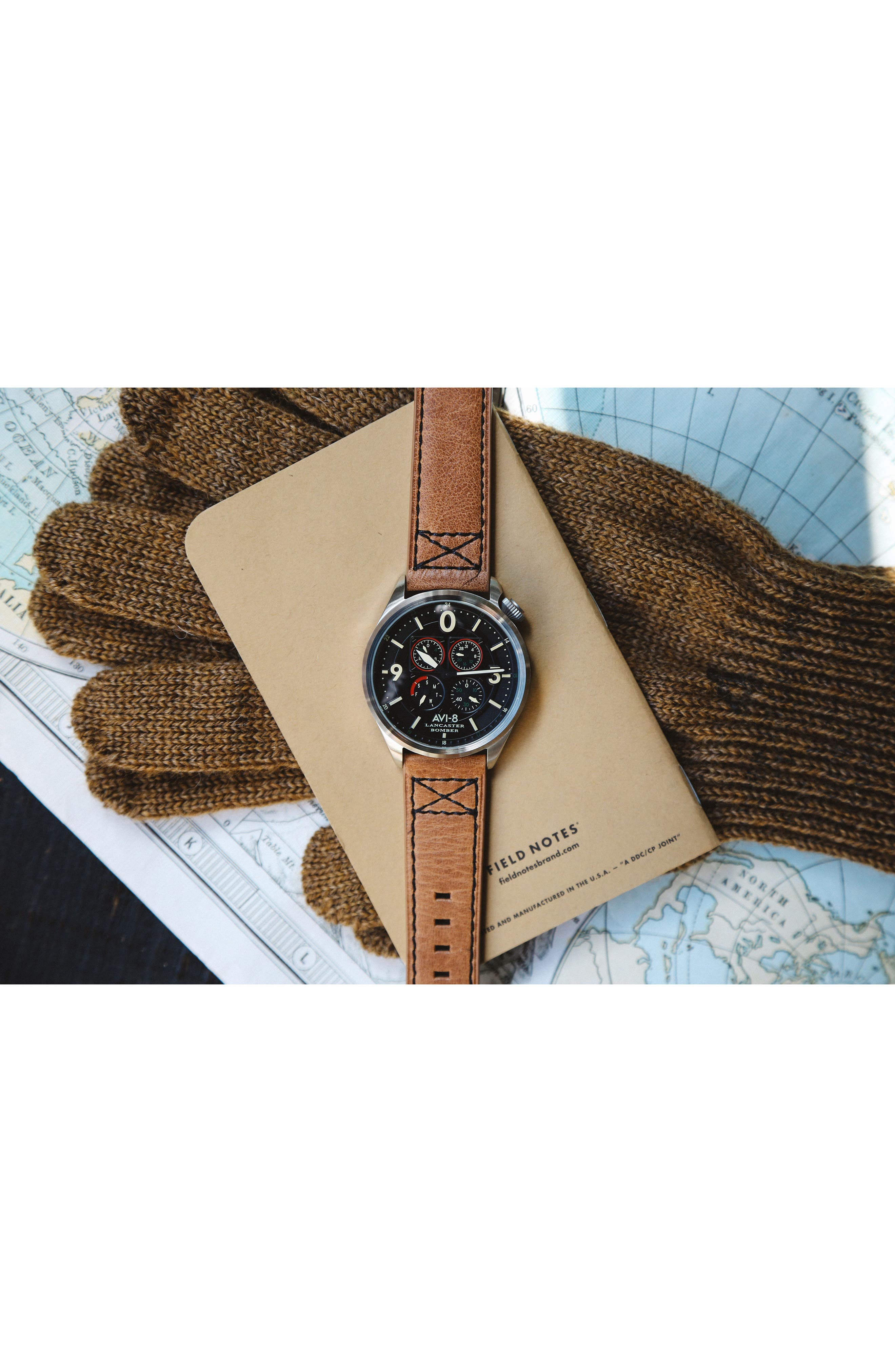 Lancaster Bomber Multifunction Leather Strap Watch, 44mm,                             Alternate thumbnail 6, color,