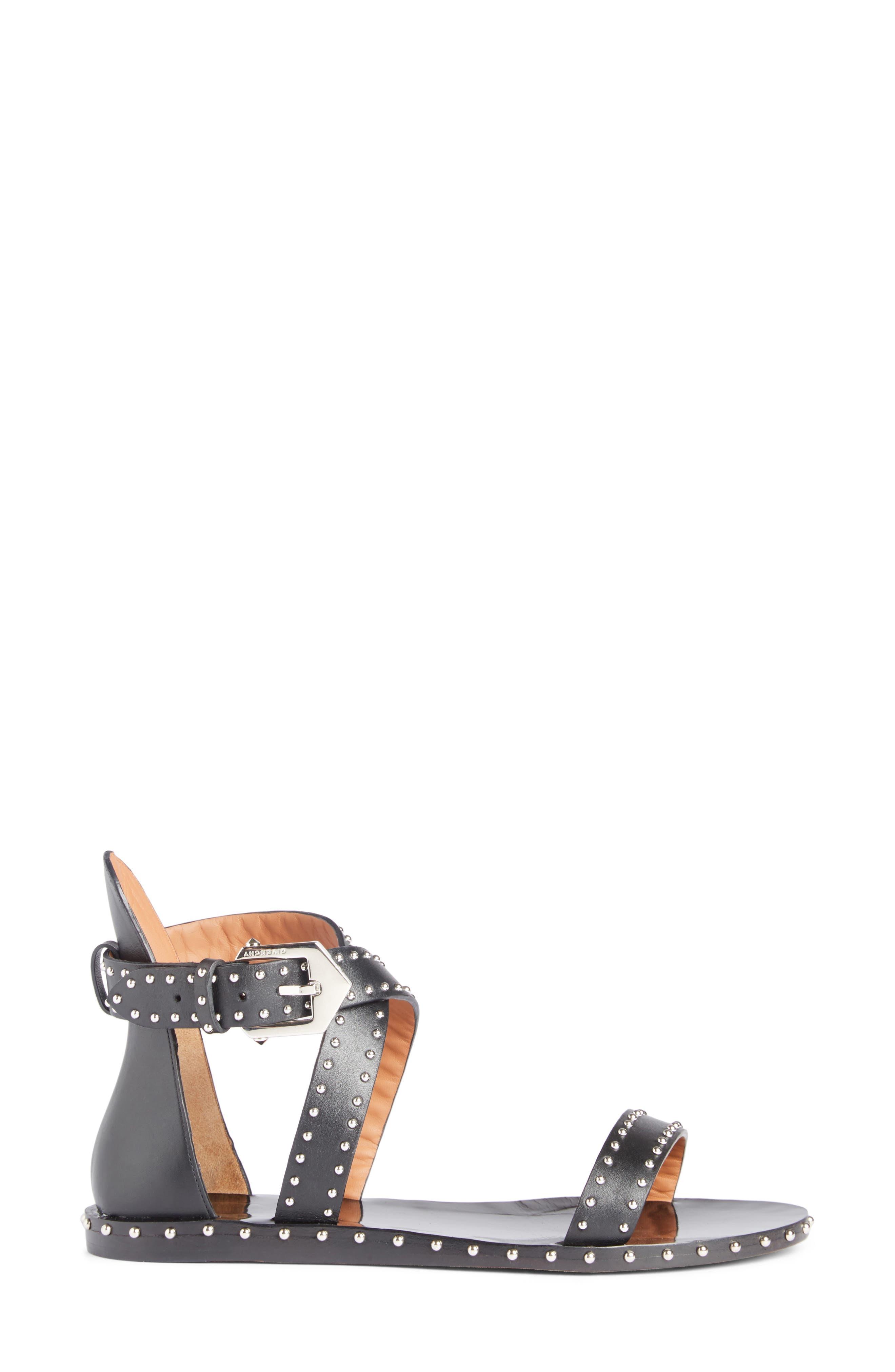 Elegant Strappy Studded Sandal,                             Alternate thumbnail 3, color,                             001