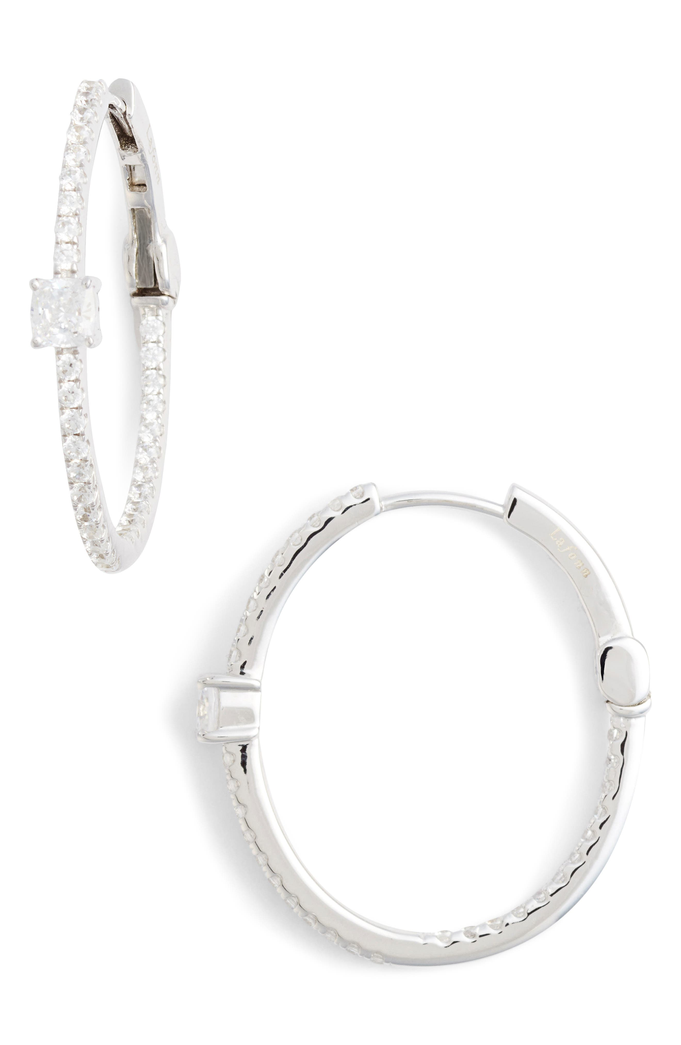 Simulated Diamond Hoop Earrings,                         Main,                         color, SILVER/ CLEAR