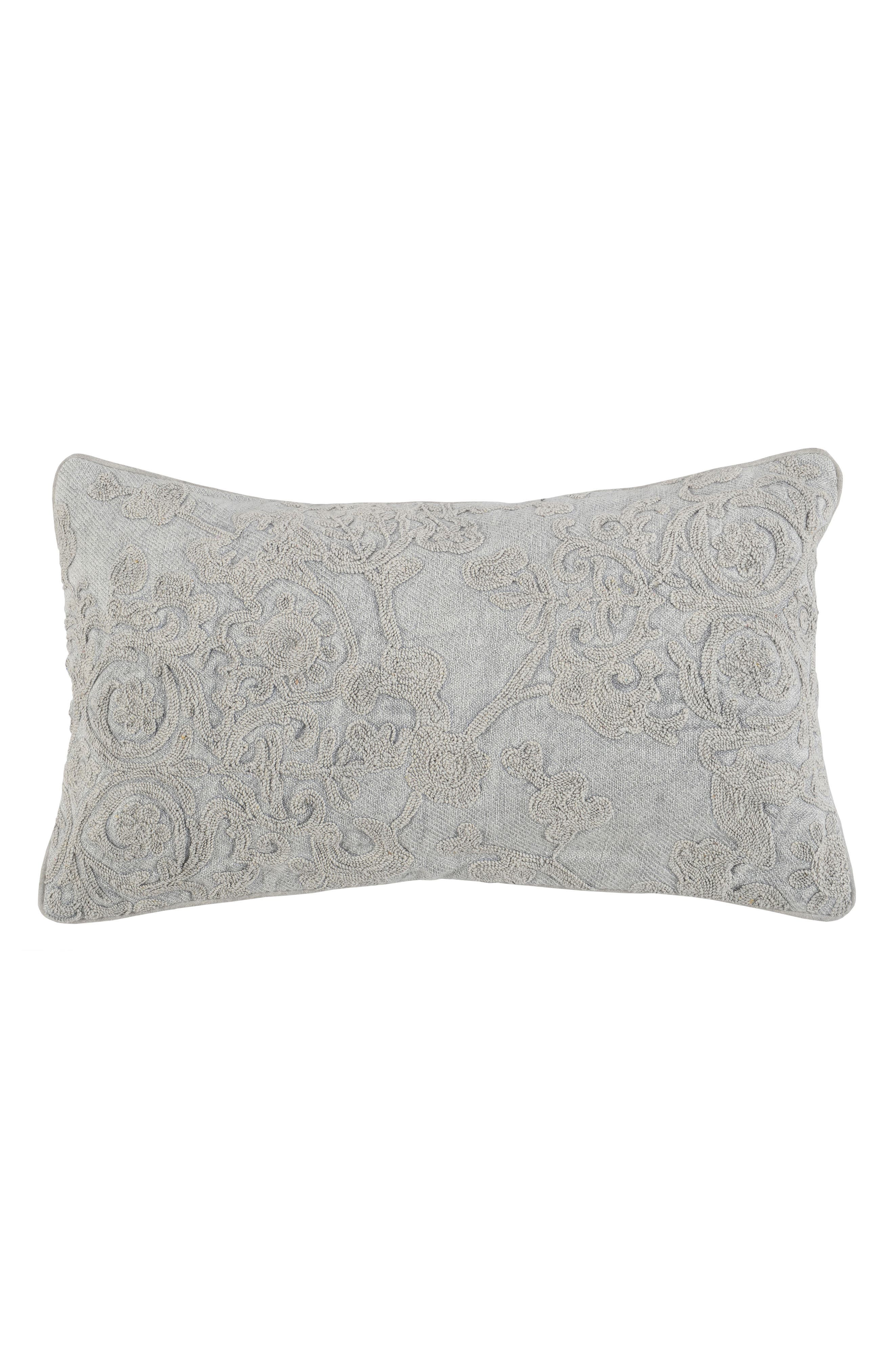 Solandra Embroidered Accent Pillow,                             Main thumbnail 1, color,                             GRAY