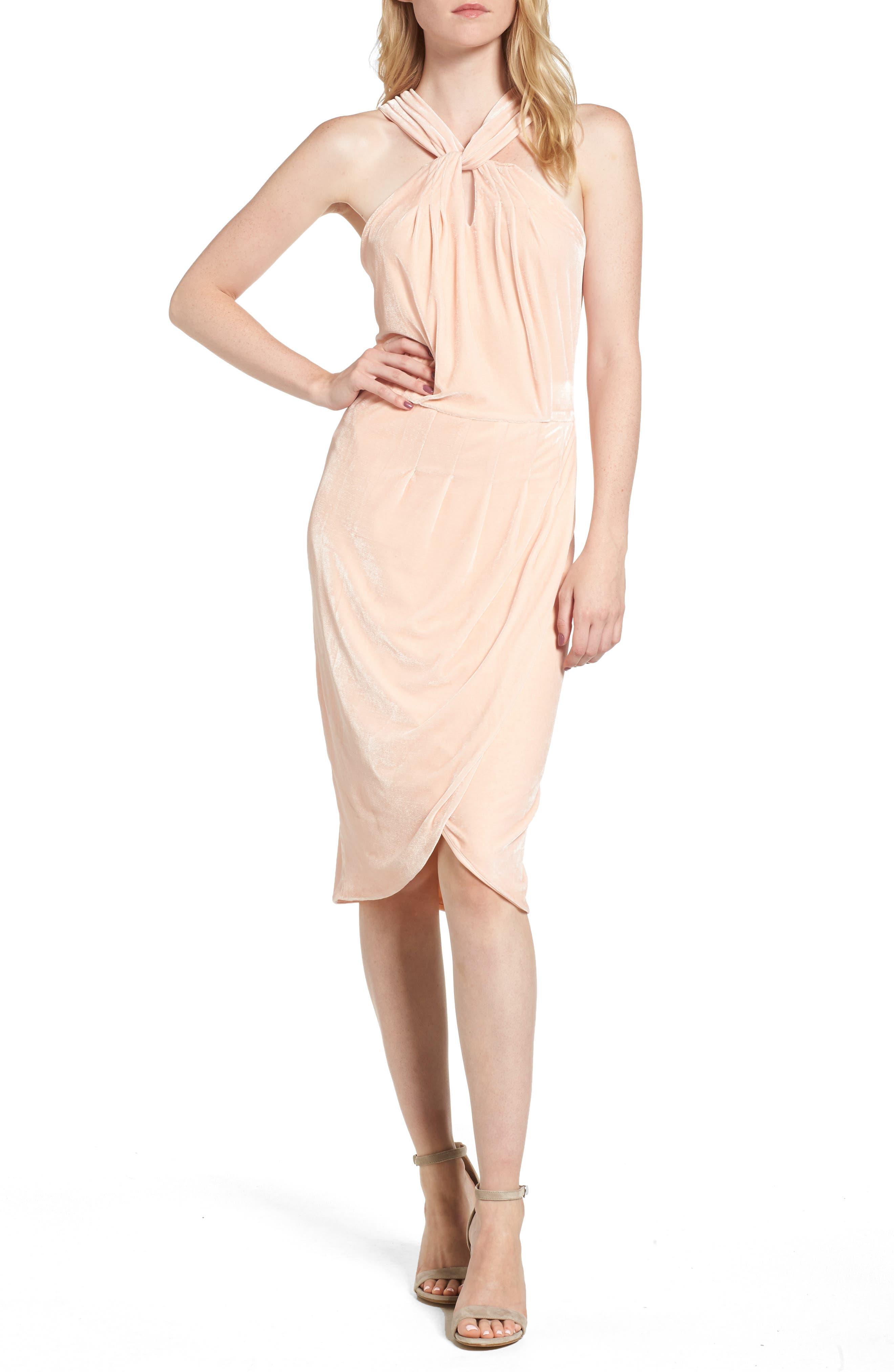 Wales Velvet Halter Dress,                             Main thumbnail 2, color,