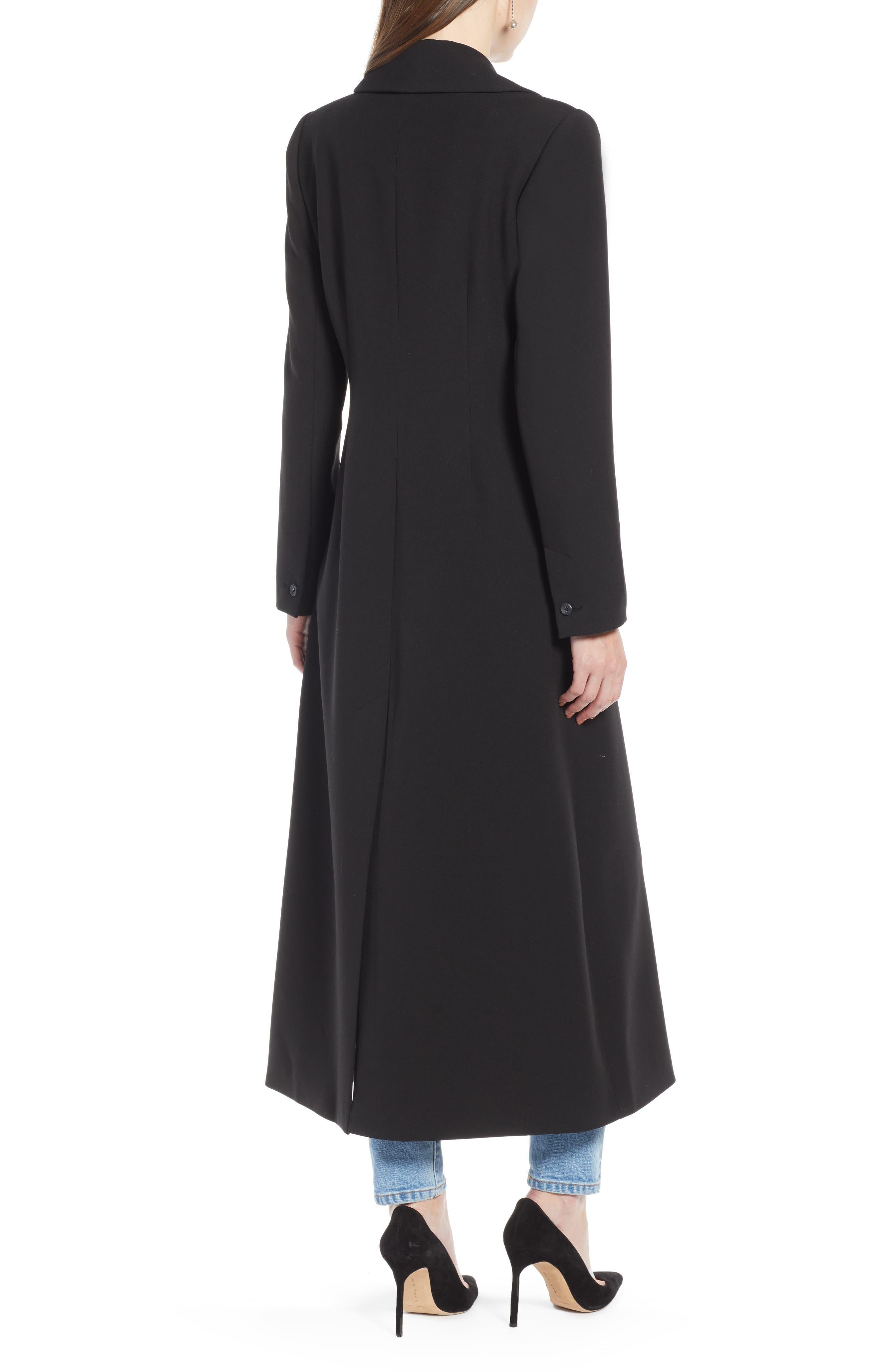 Long Feminine Coat,                             Alternate thumbnail 2, color,                             BLACK