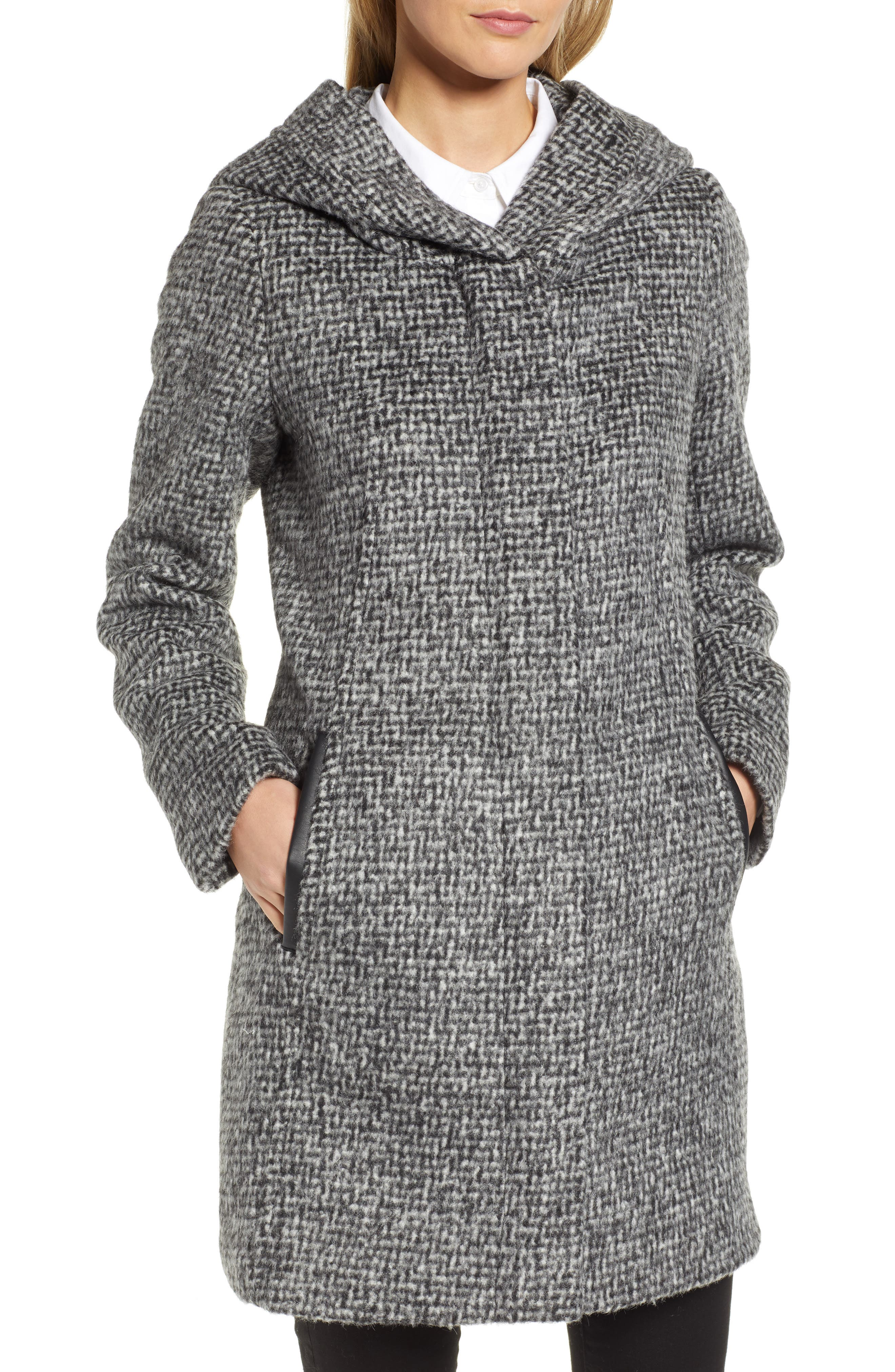 Fuzzy Houndstooth Coat,                             Alternate thumbnail 4, color,                             BLACK/ WHITE