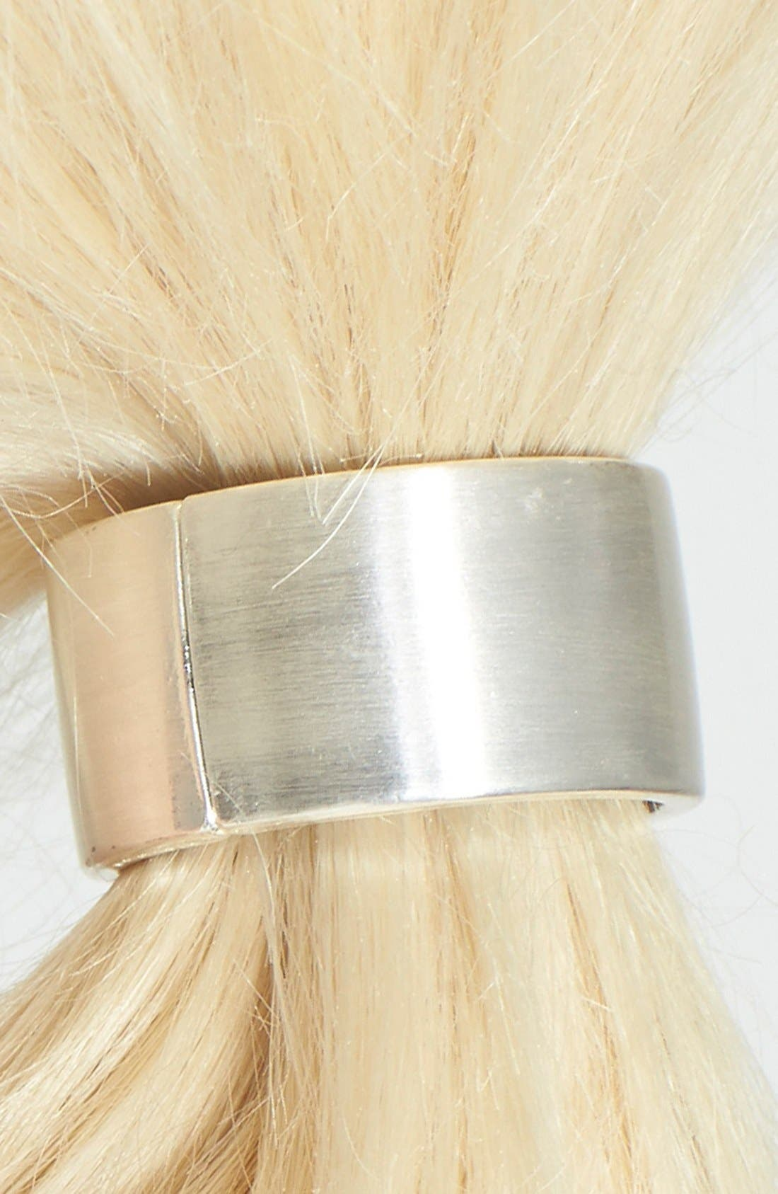 Cuff Ponytail Holder,                             Alternate thumbnail 2, color,                             BRUSHED SILVER