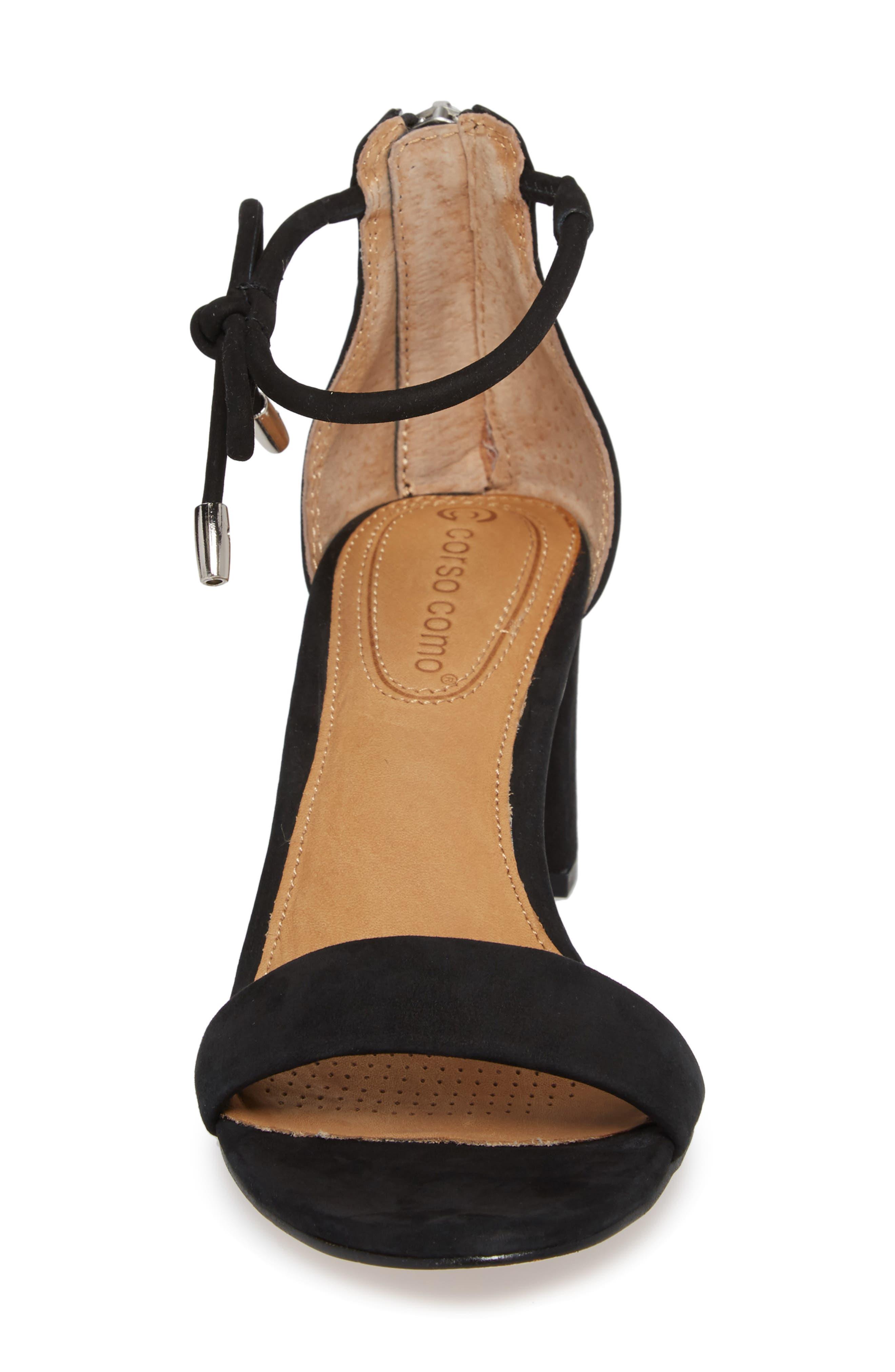 Celebratt Ankle Strap Sandal,                             Alternate thumbnail 4, color,                             BLACK NUBUCK LEATHER