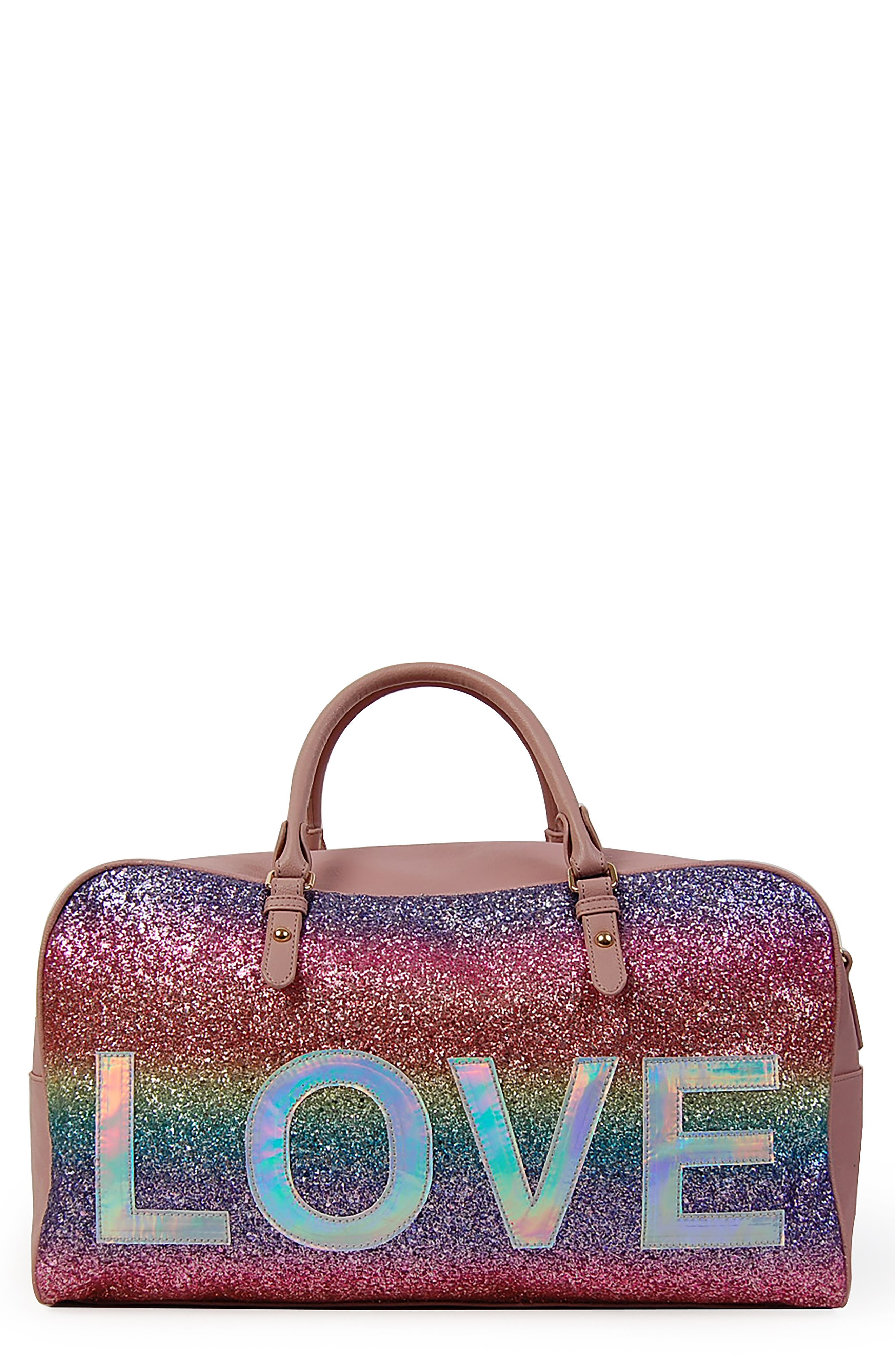 OMG Love Rainbow Glitter Duffel Bag, Main, color, MAUVE
