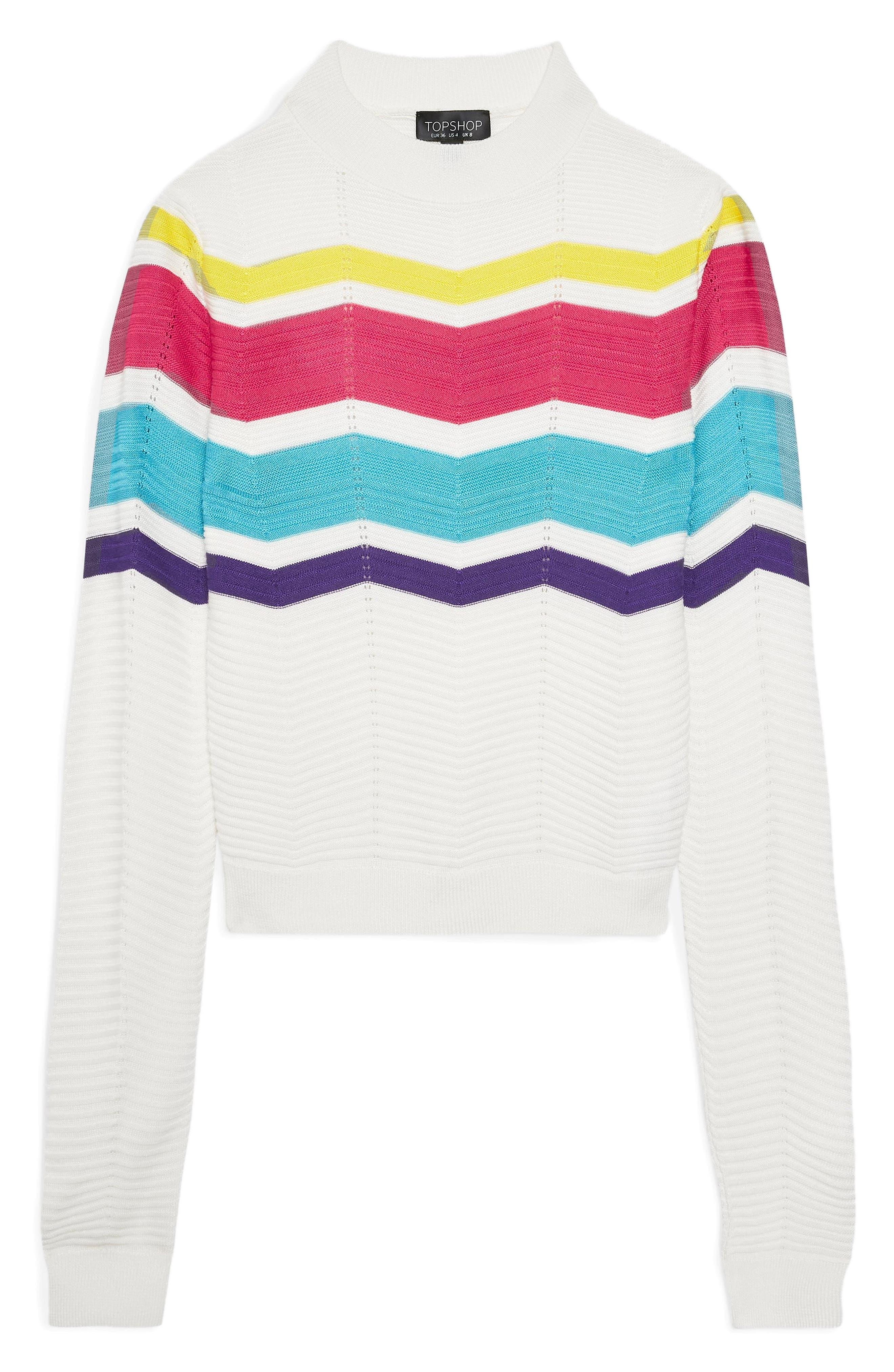 Chevron Stripe Crop Sweater,                             Alternate thumbnail 5, color,                             900