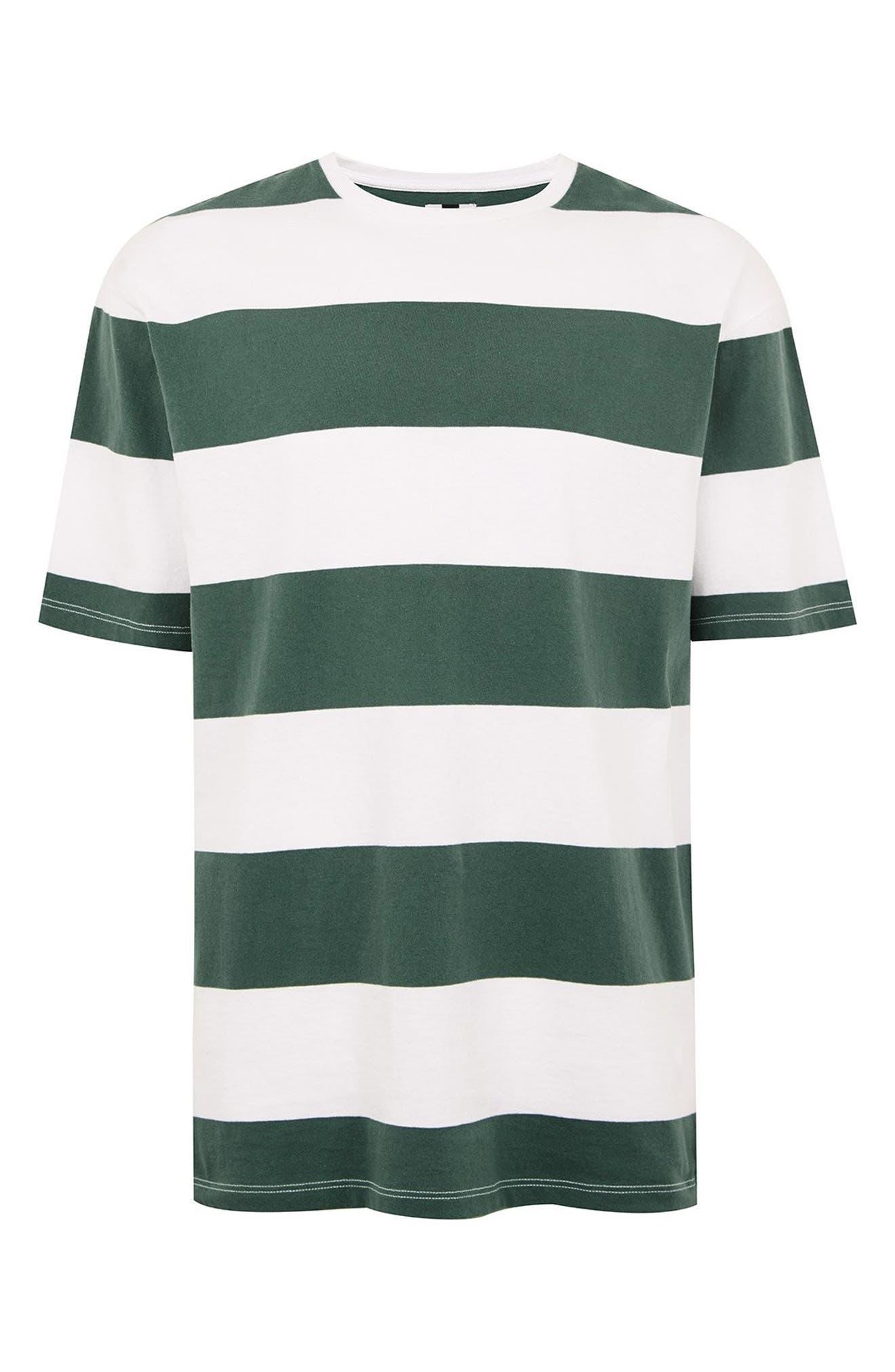 Wide Stripe Classic Fit T-Shirt,                             Alternate thumbnail 4, color,                             GREEN MULTI