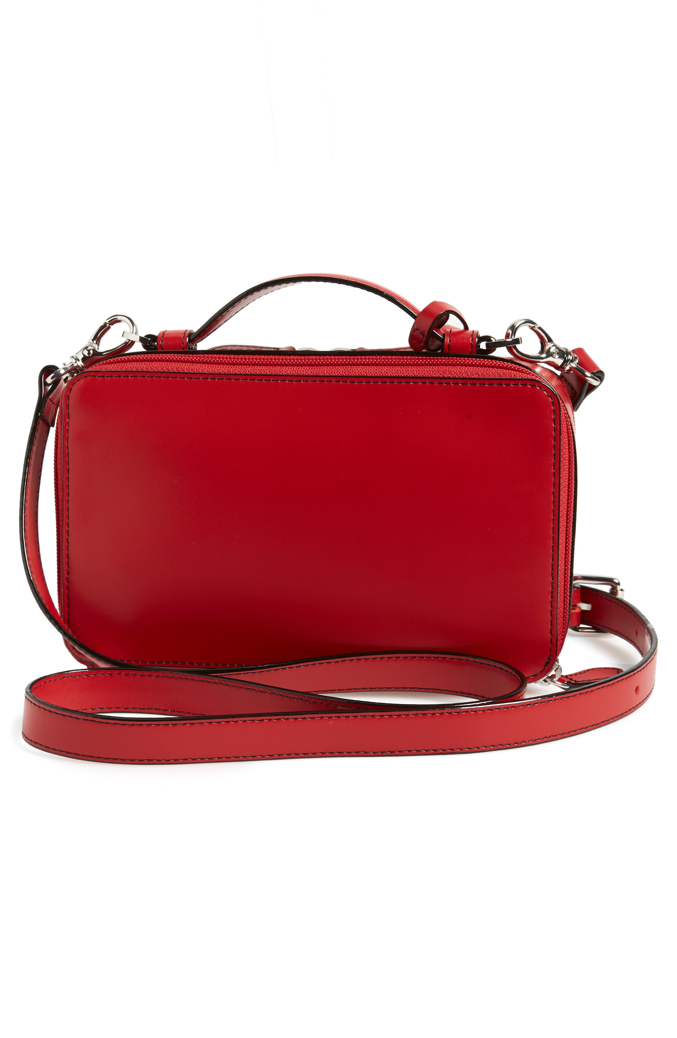 Downtown Sally RFID Zip-Around Leather Crossbody Bag,                             Alternate thumbnail 3, color,                             RED