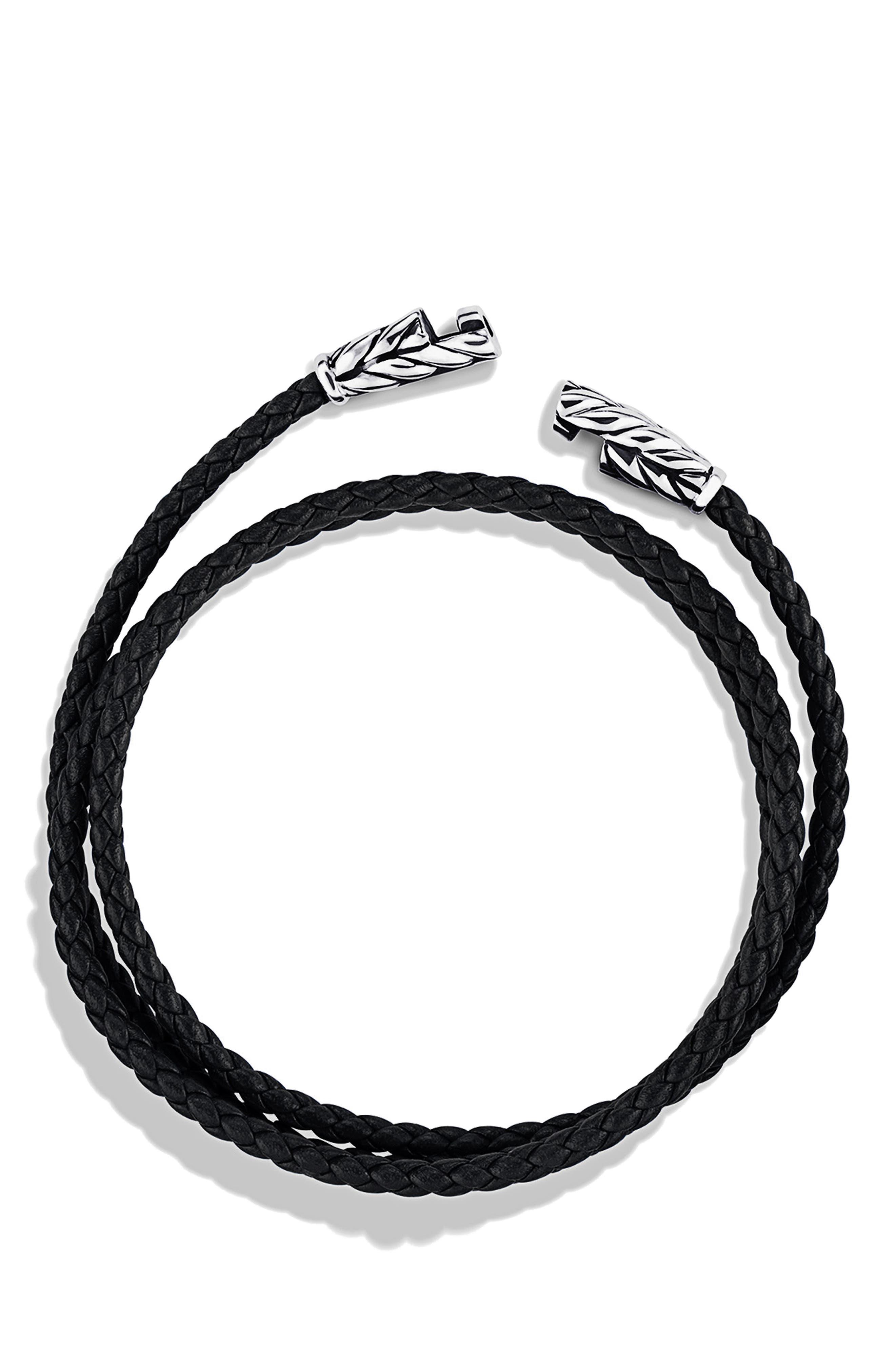 'Chevron' Triple-Wrap Bracelet,                             Alternate thumbnail 2, color,                             BLACK LEATHER