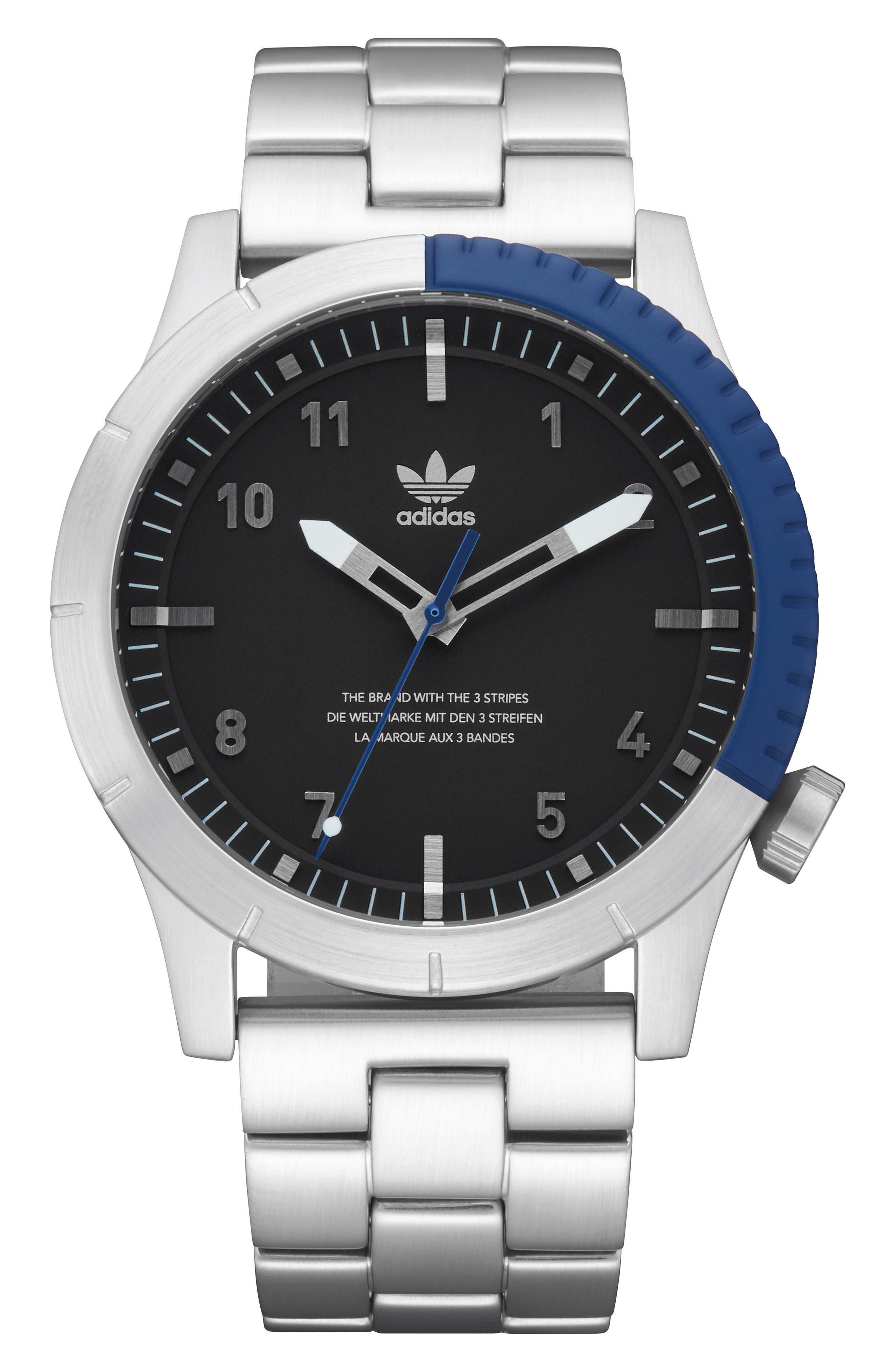Cypher Bracelet Watch, 42mm,                         Main,                         color, SILVER/ BLACK/ BLUE