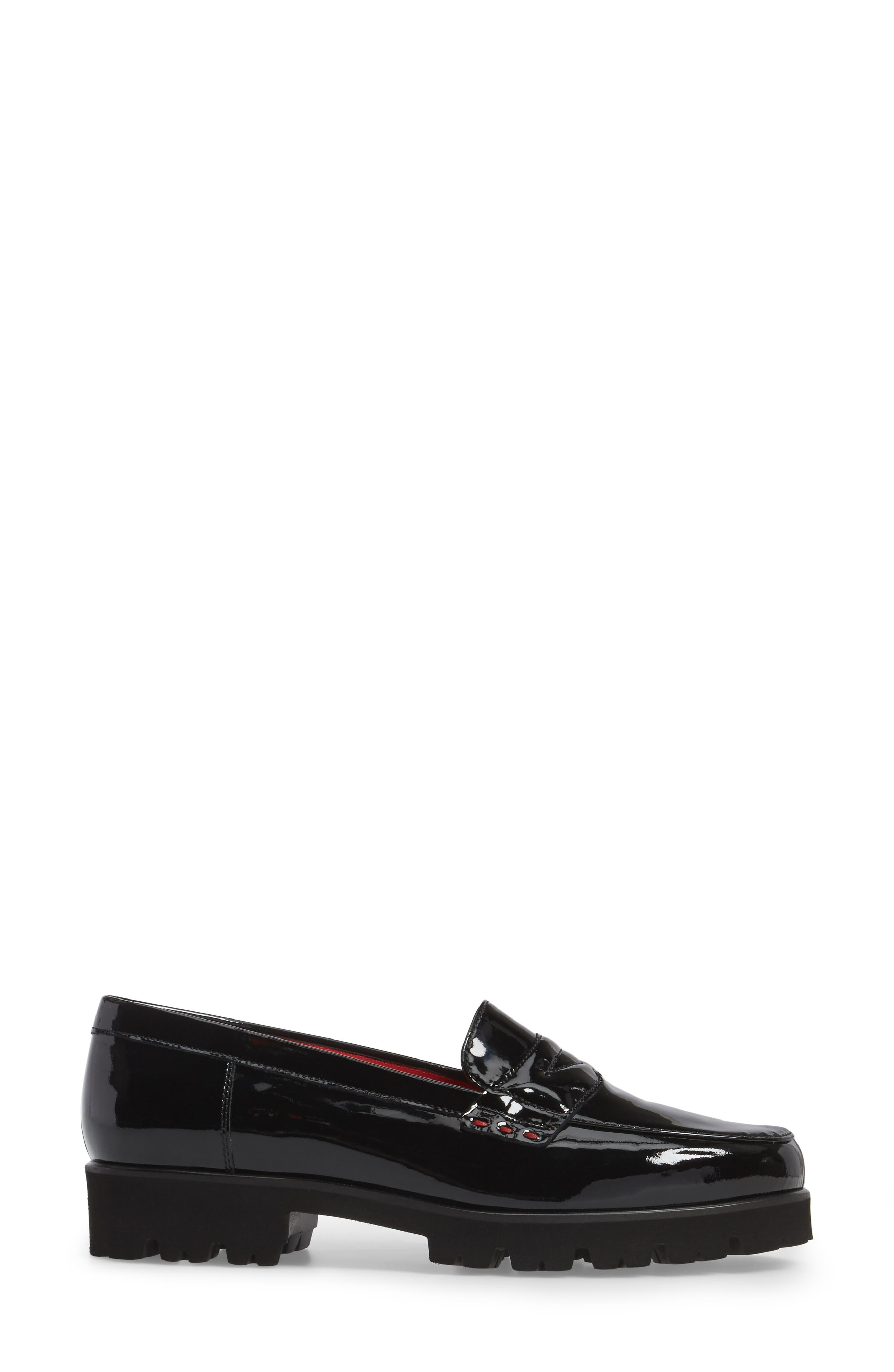 Classic Penny Loafer,                             Alternate thumbnail 3, color,                             BLACK PATENT LEATHER