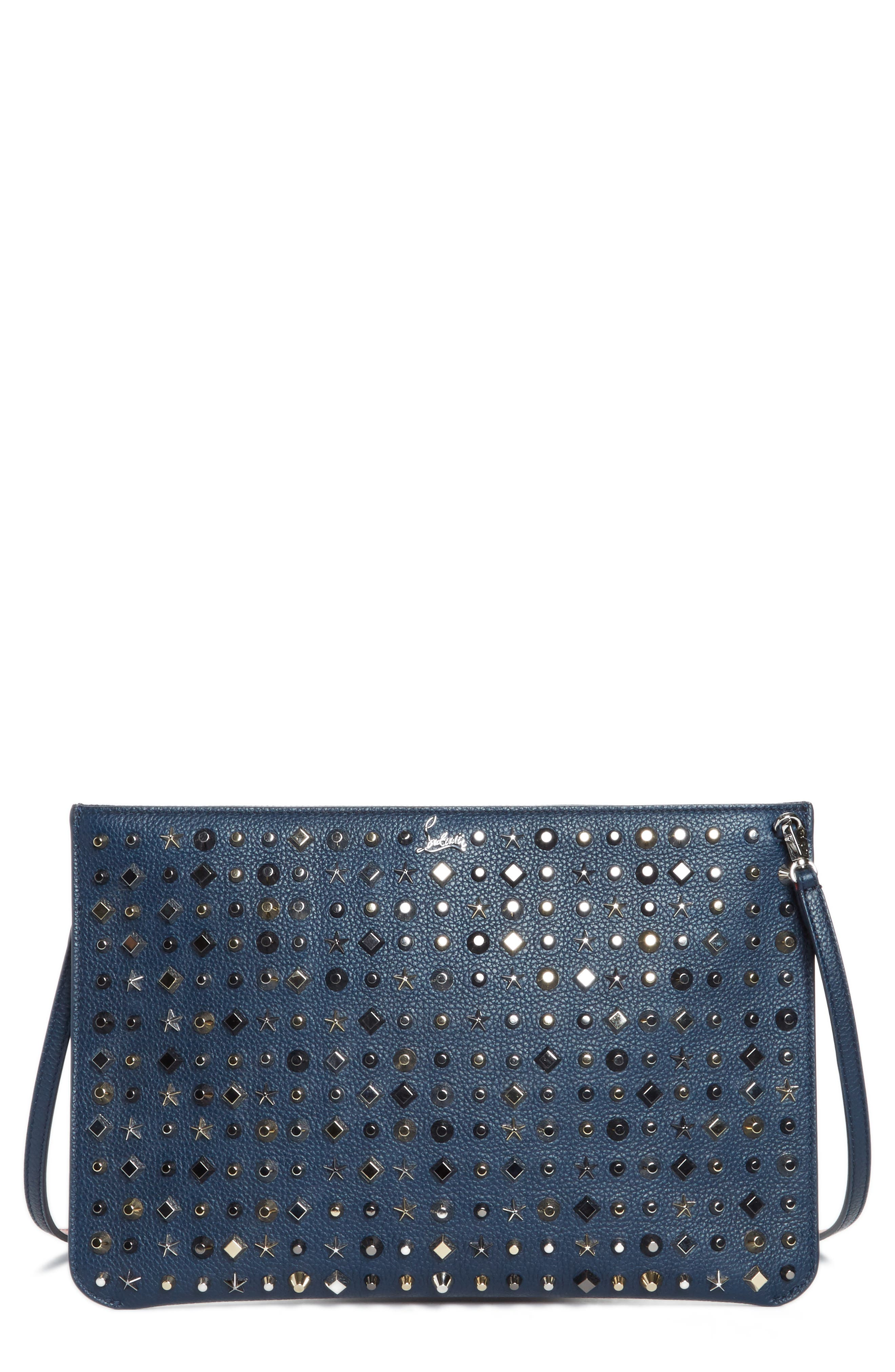 Loubiclutch Spiked Leather Clutch,                         Main,                         color, 419