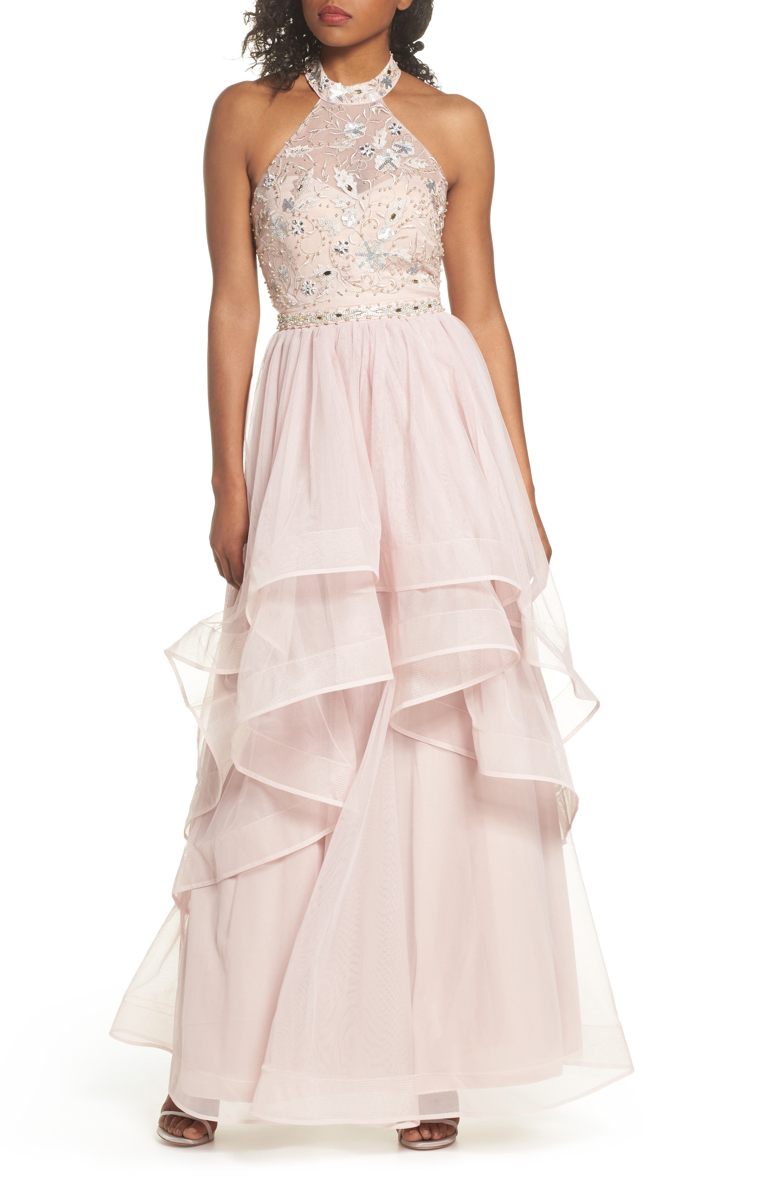 Beaded Halter Neck Gown,                             Main thumbnail 1, color,                             650