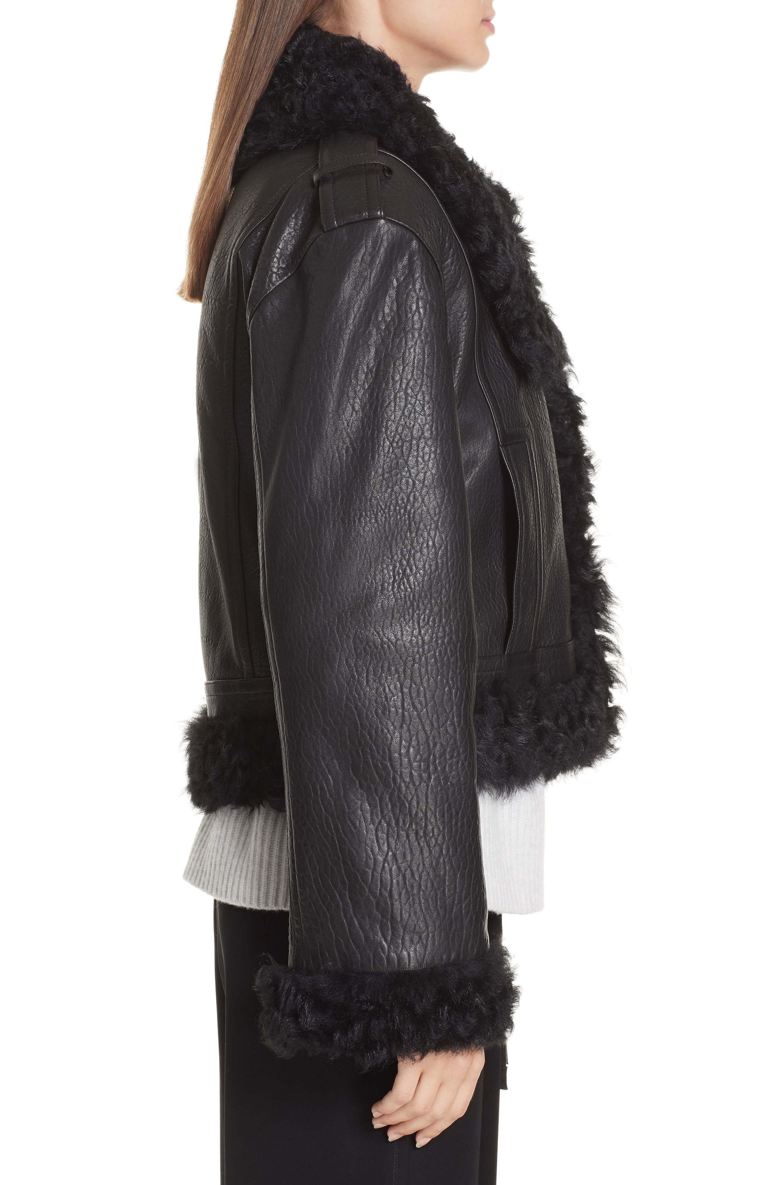 Leather & Genuine Shearling Moto Jacket,                             Alternate thumbnail 3, color,                             BLACK