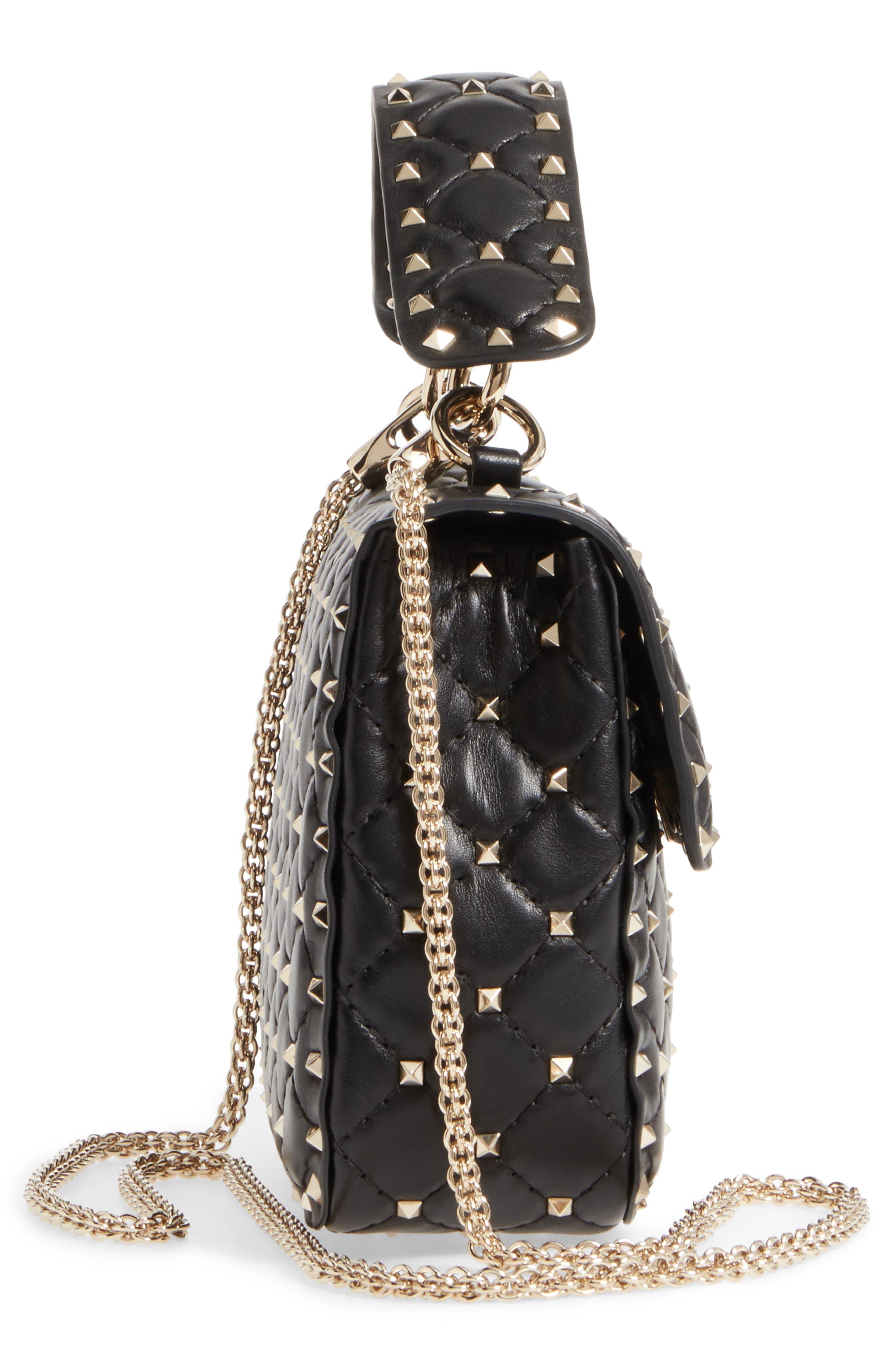 Medium Rockstud Matelassé Quilted Leather Shoulder Bag,                             Alternate thumbnail 5, color,                             BLACK
