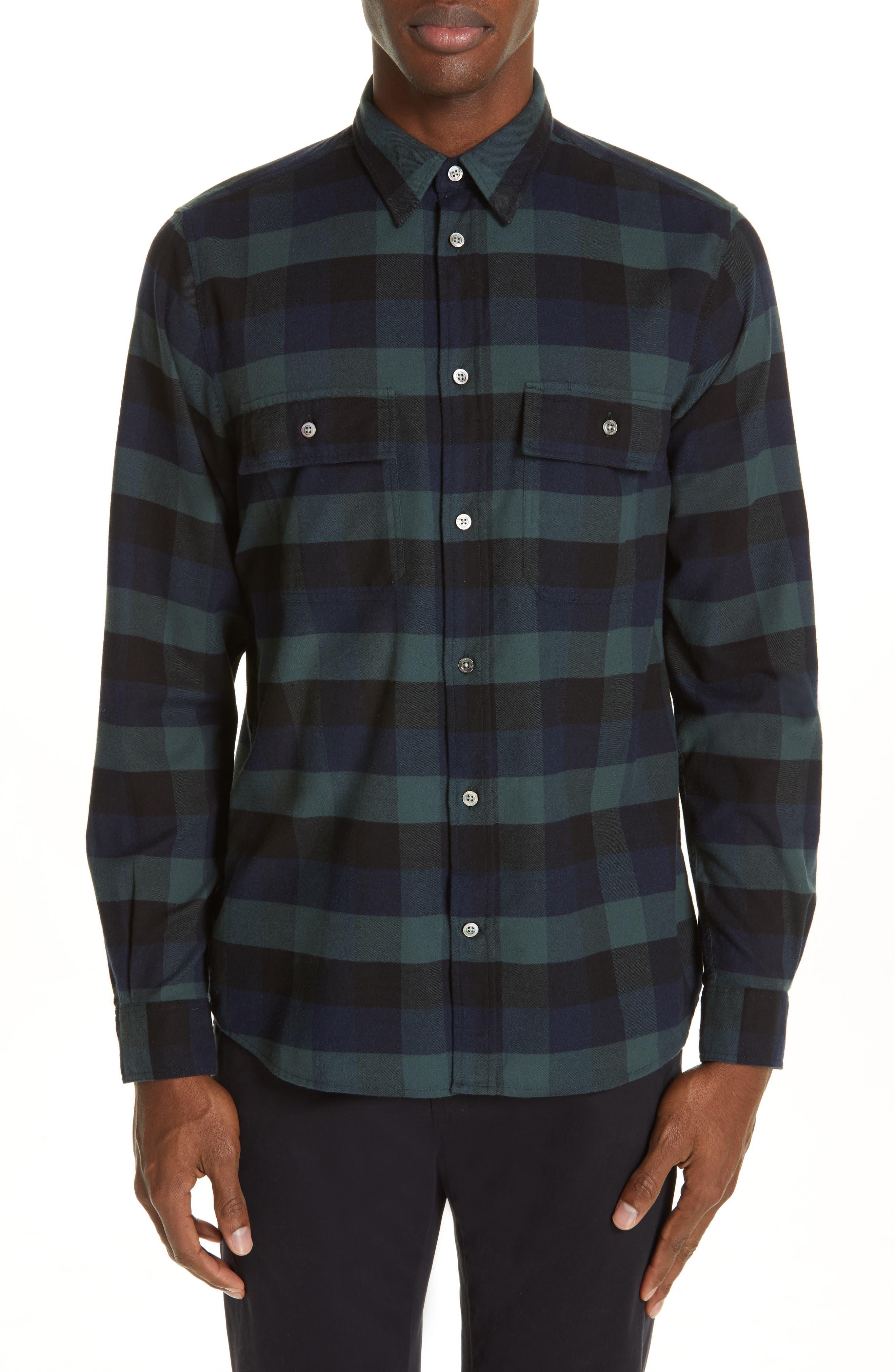 Villads Check Brushed Flannel Shirt,                             Main thumbnail 1, color,                             DARK NAVY