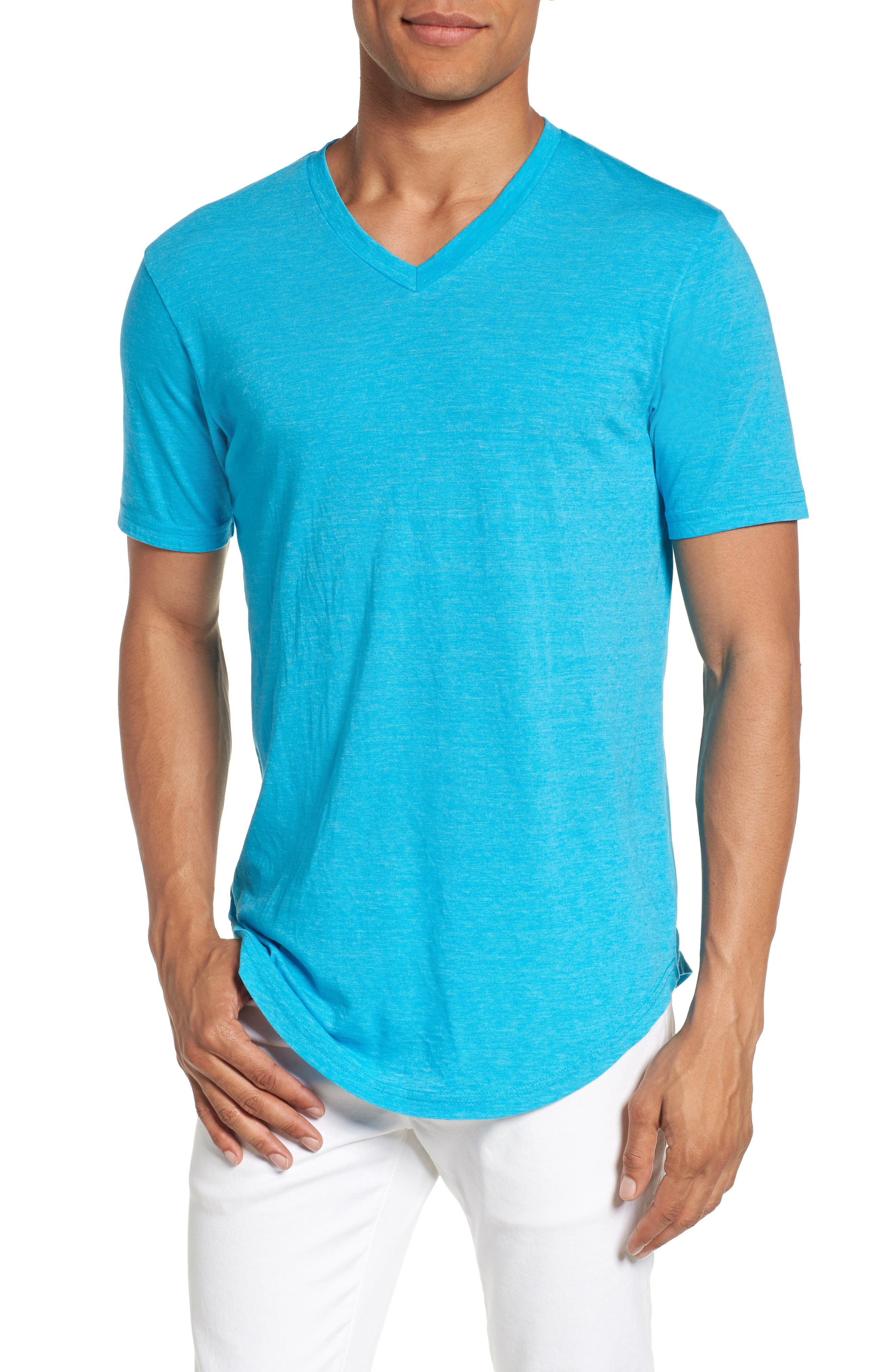 Scallop Triblend V-Neck T-Shirt,                             Main thumbnail 9, color,