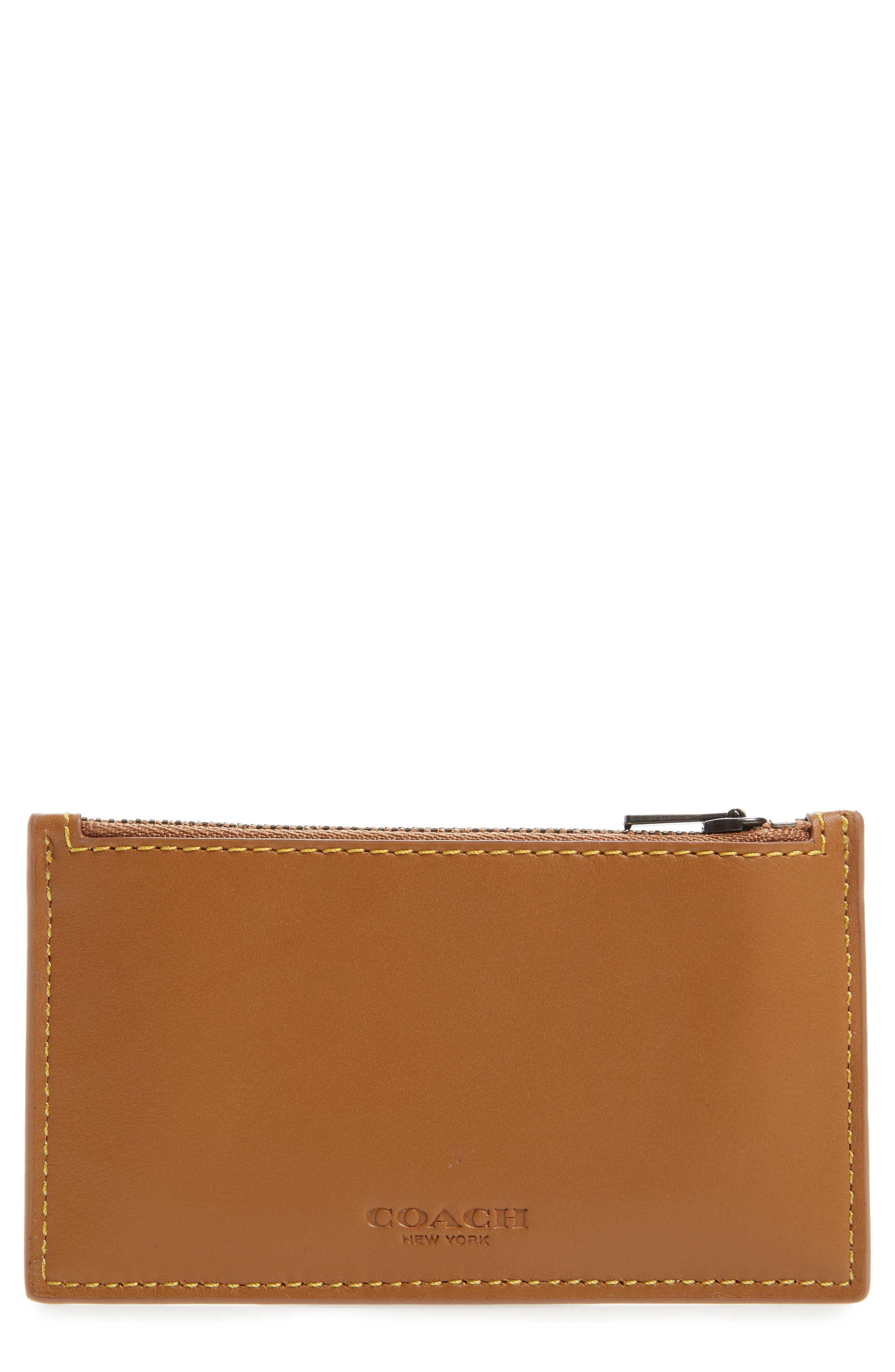 Zip Leather Card Case,                             Main thumbnail 1, color,                             250