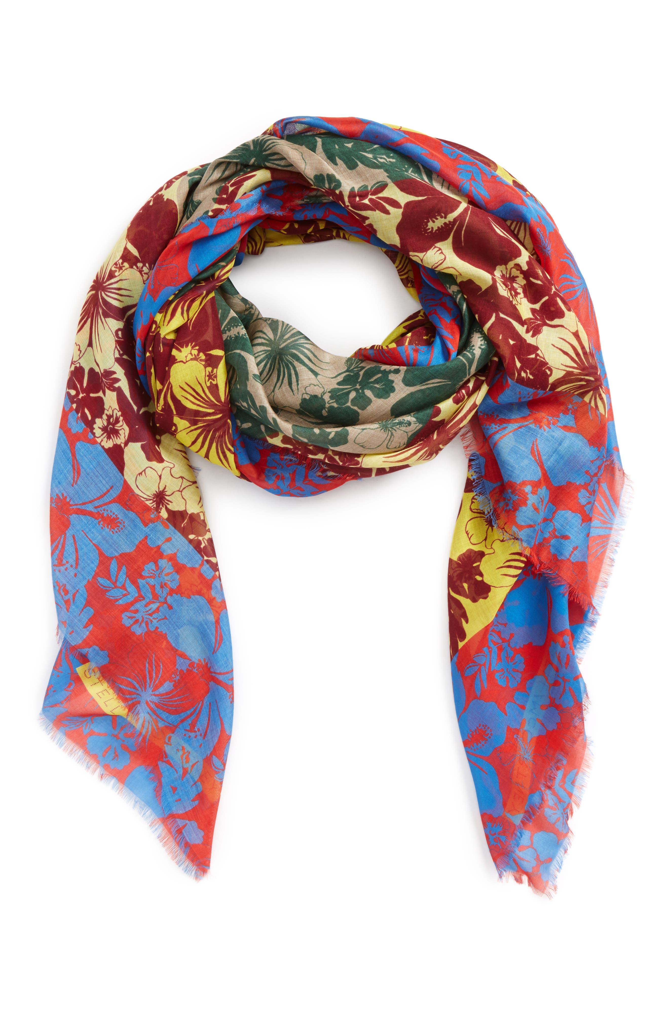 Tropical Floral Print Silk & Modal Scarf,                             Alternate thumbnail 3, color,                             600