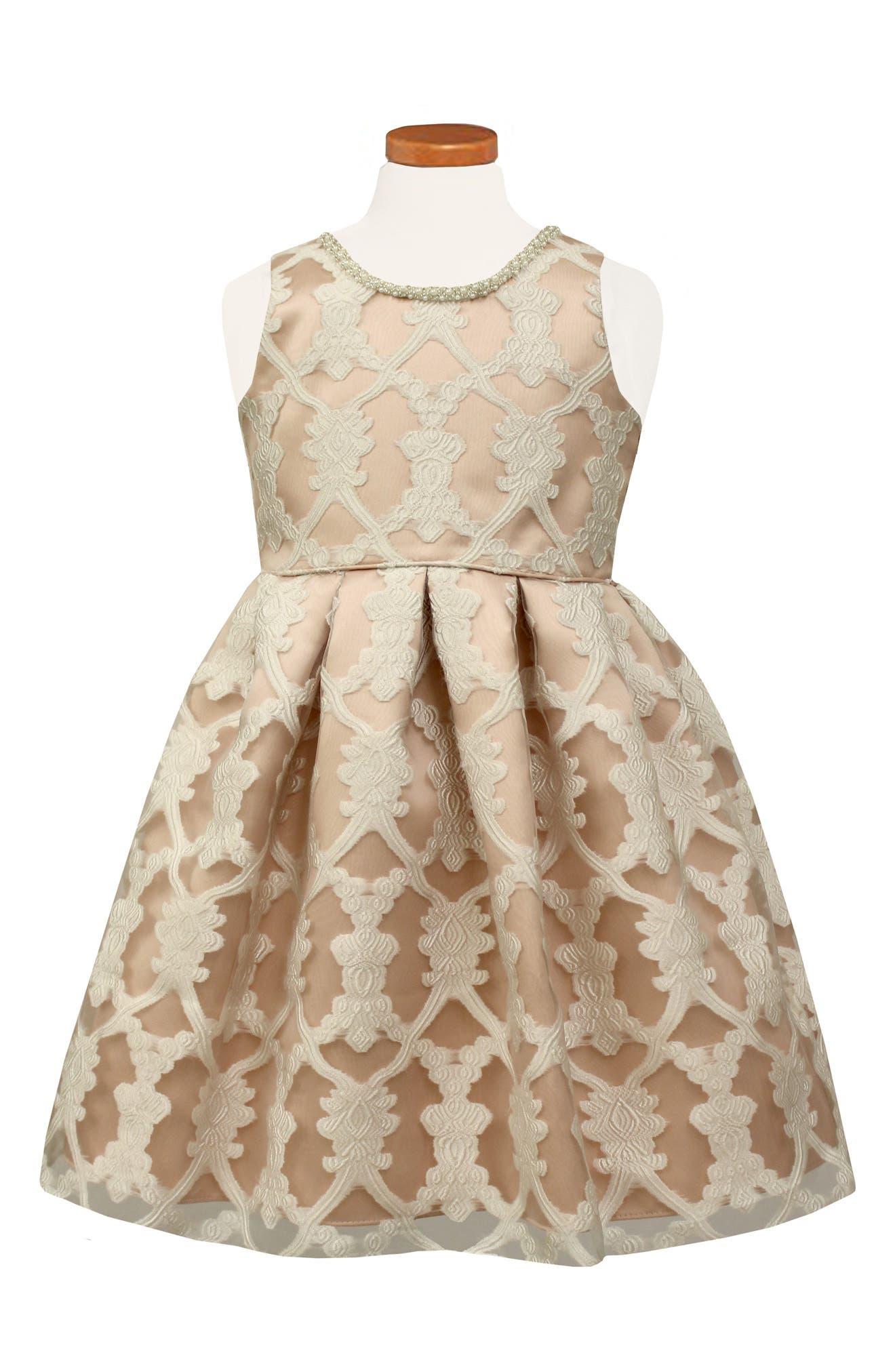 SORBET Burnout Lace Party Dress, Main, color, 660