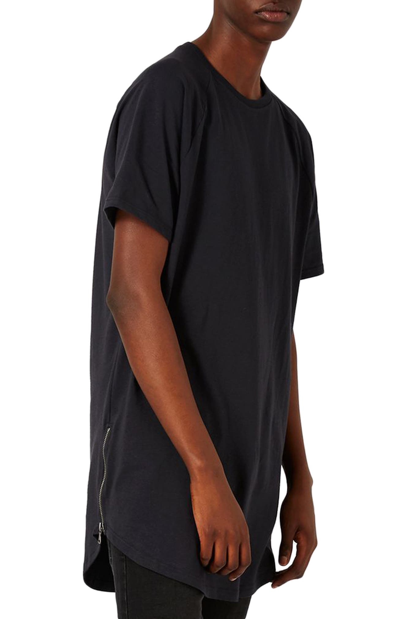 Longline T-Shirt with Side Zips,                             Main thumbnail 1, color,                             001