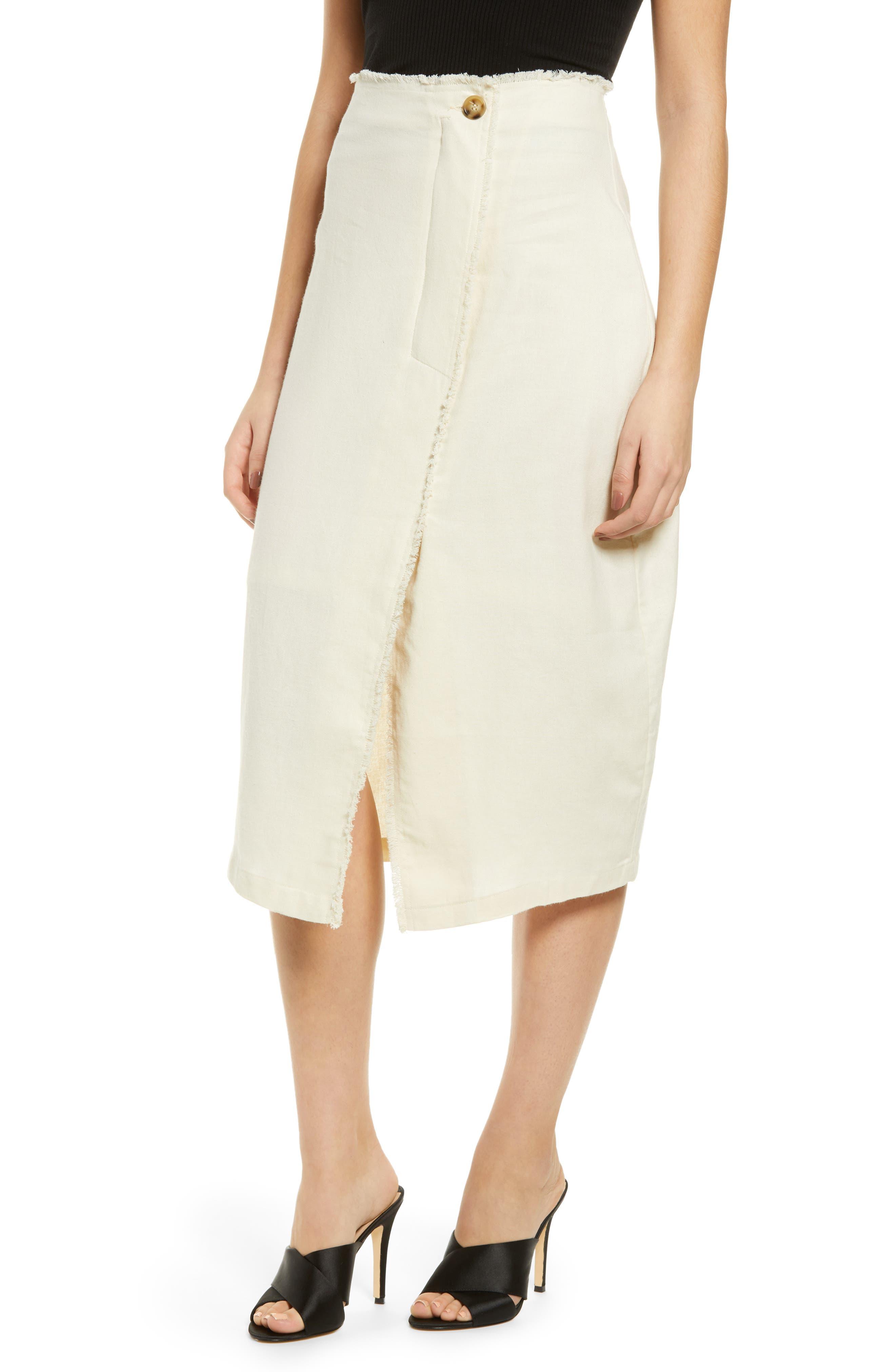 Prima Button Frayed Midi Skirt, Ivory