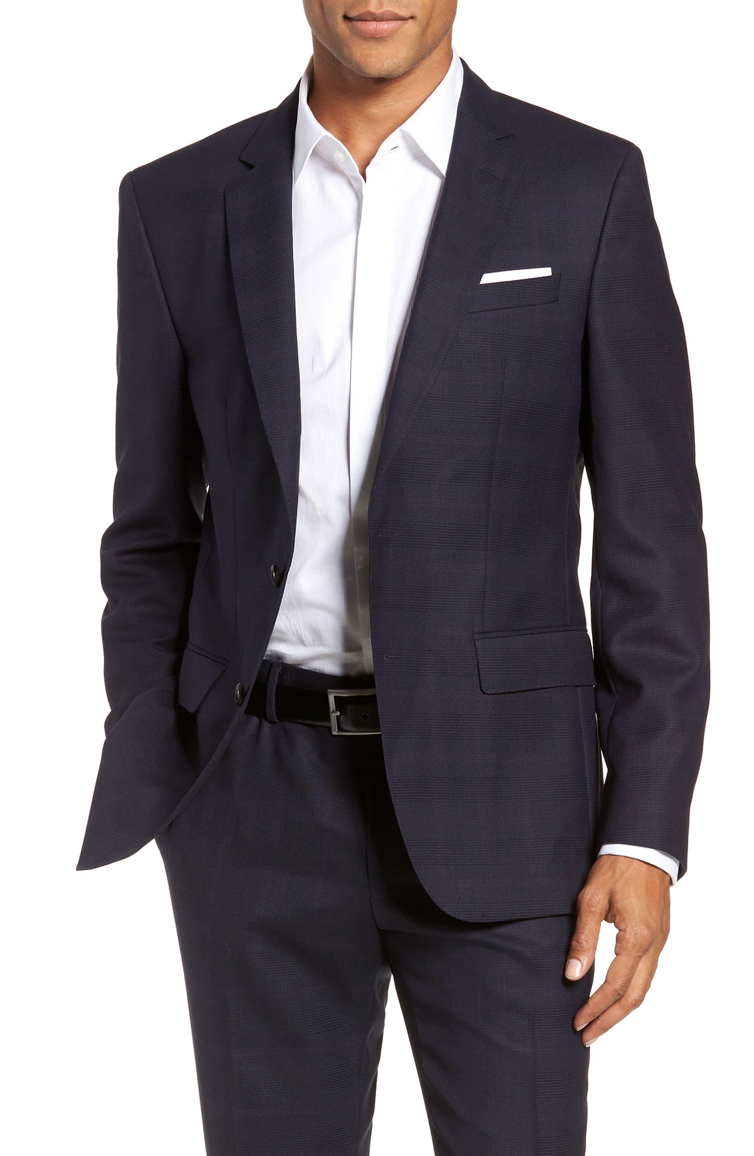 x Nordstrom Huge/Genius Trim Fit Plaid Wool Suit,                             Alternate thumbnail 6, color,                             NAVY