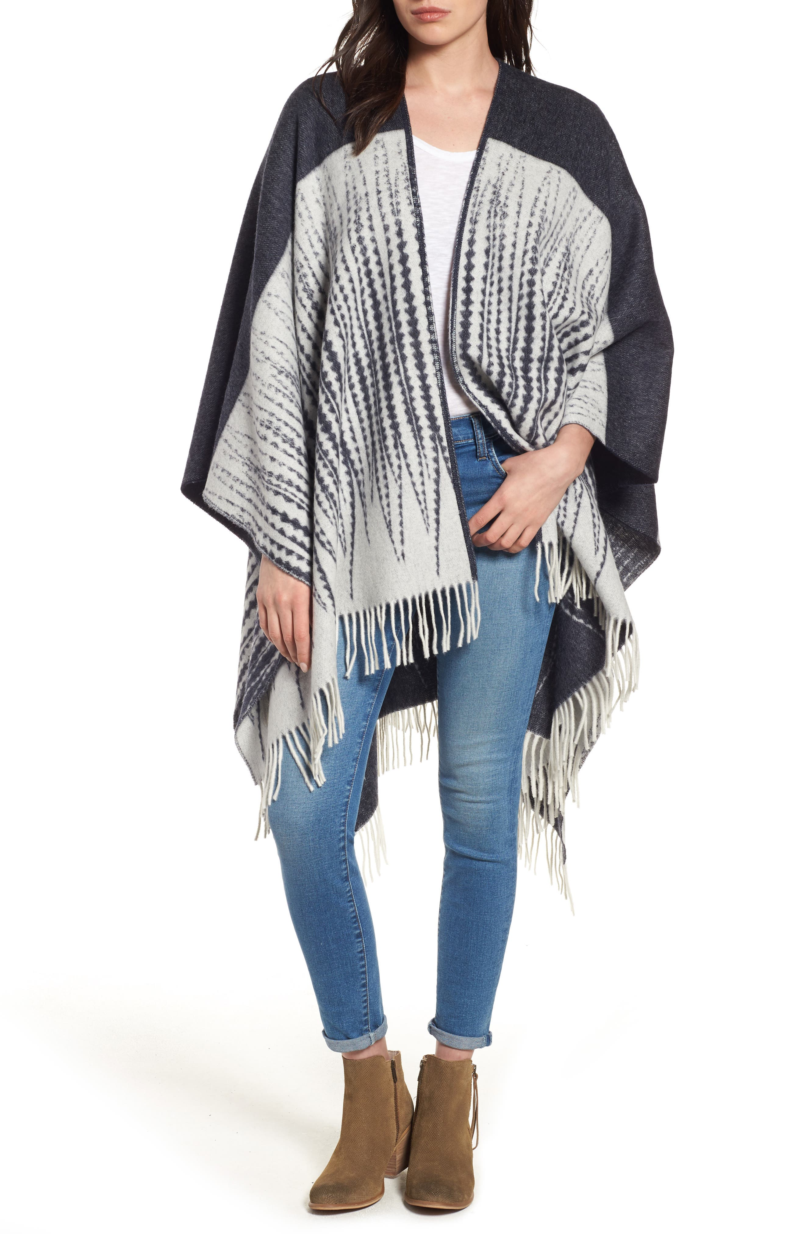 Feather Print Wool Wrap,                             Alternate thumbnail 4, color,                             400