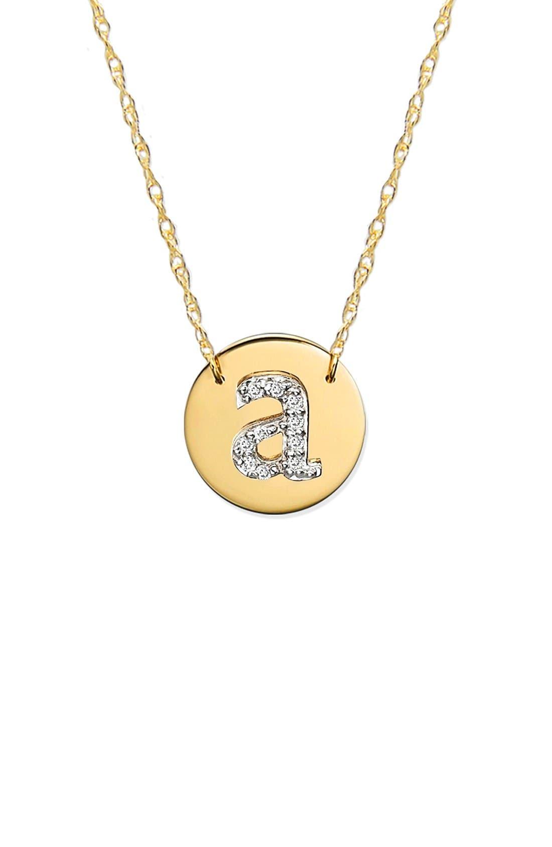 Diamond Initial Disc Pendant Necklace,                             Main thumbnail 1, color,                             GOLD - A