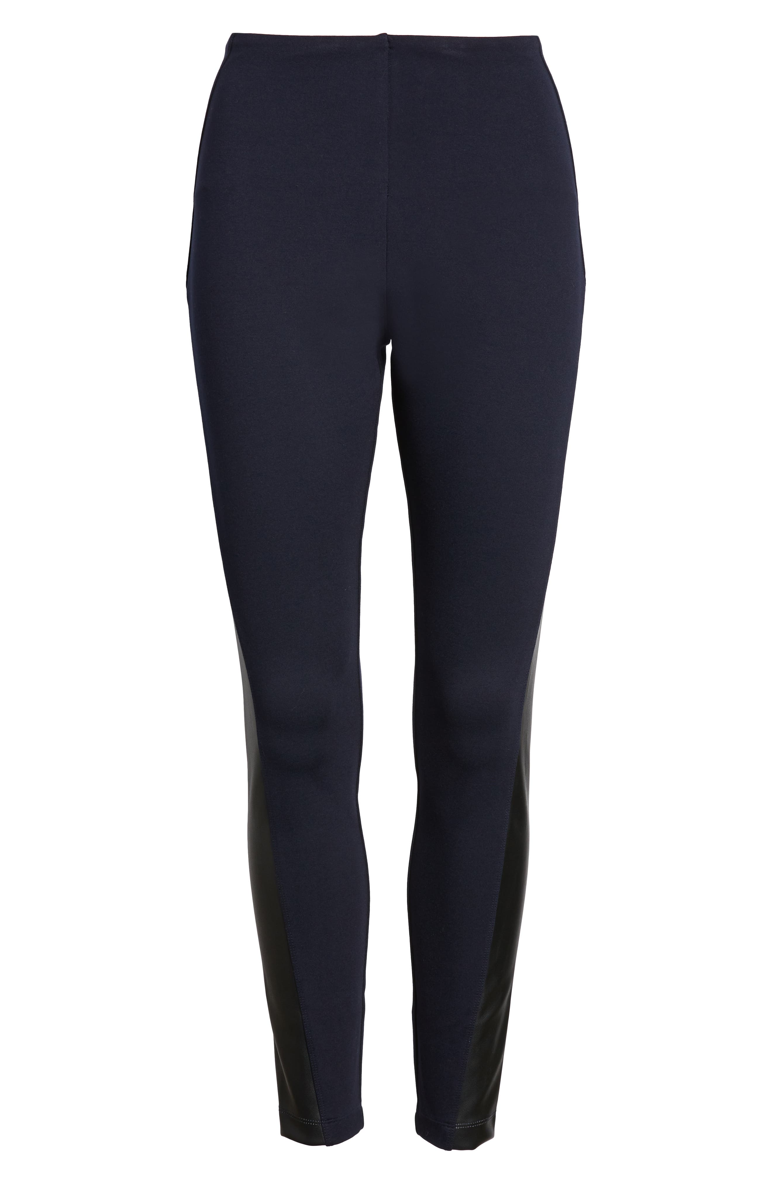 Gemma Faux-Leather Panel Ankle Leggings,                             Alternate thumbnail 7, color,                             MIDNIGHT