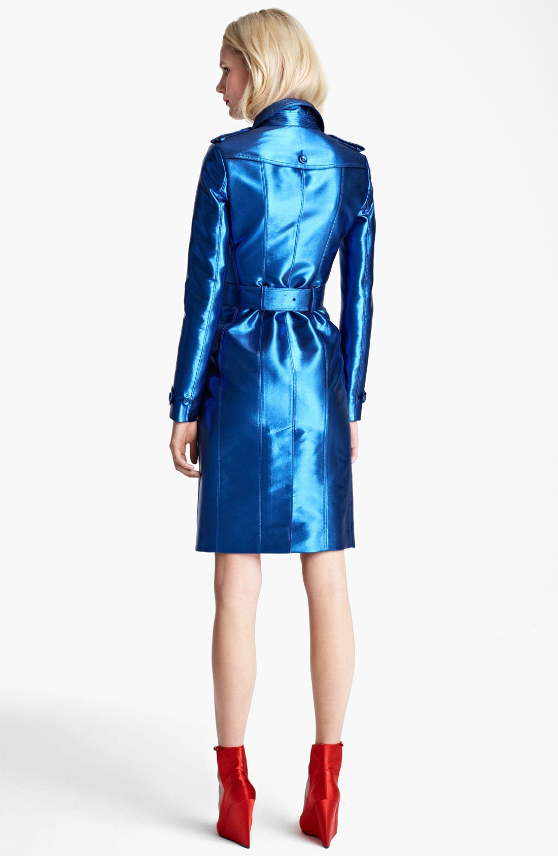 BURBERRY PRORSUM,                             Belted Metallic Trench Coat,                             Alternate thumbnail 2, color,                             430