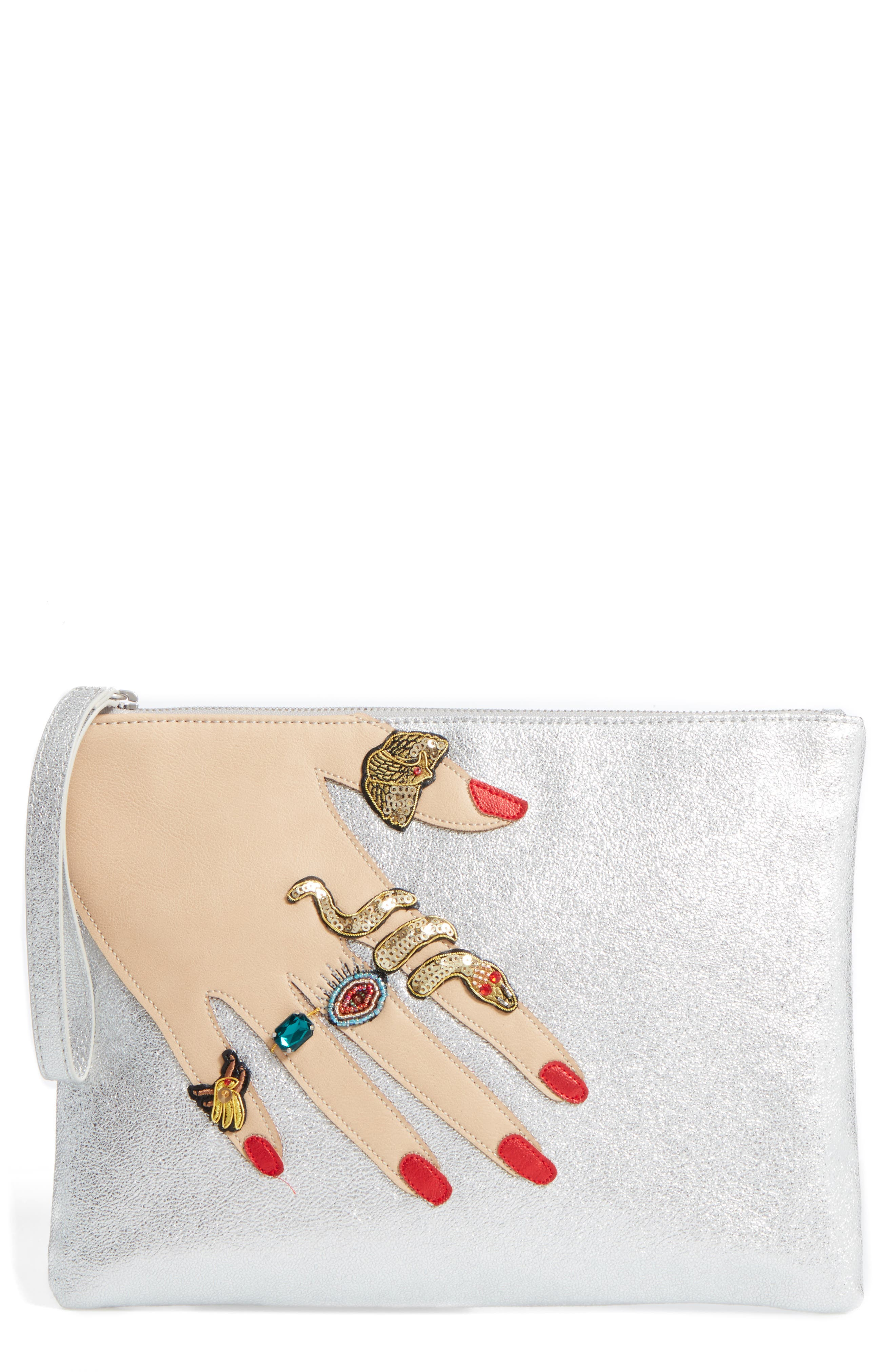 Jeana Hand Zip Metallic Faux Leather Pouch,                         Main,                         color, 040