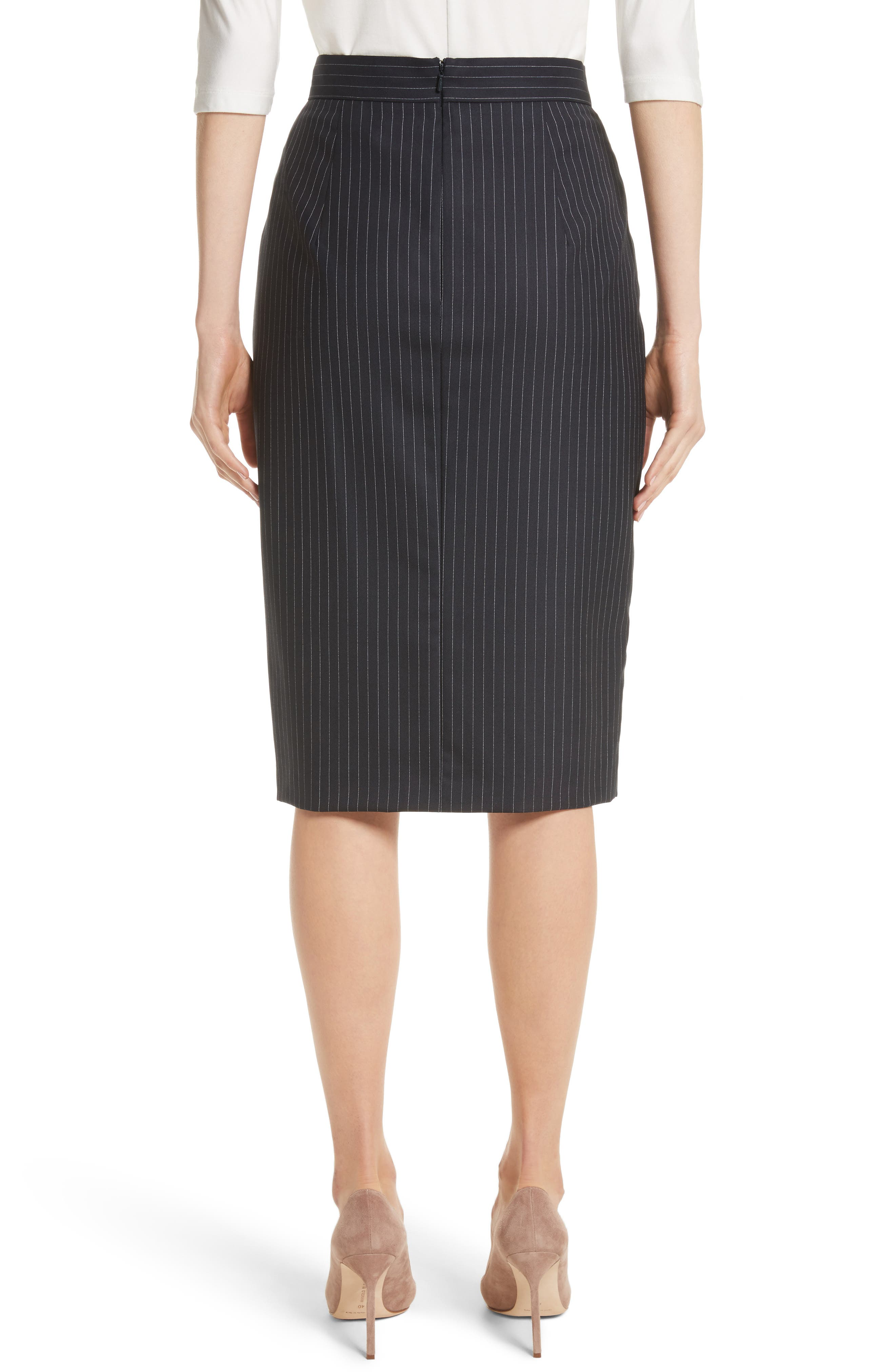 Abba Pinstripe Pencil Skirt,                             Alternate thumbnail 2, color,                             411