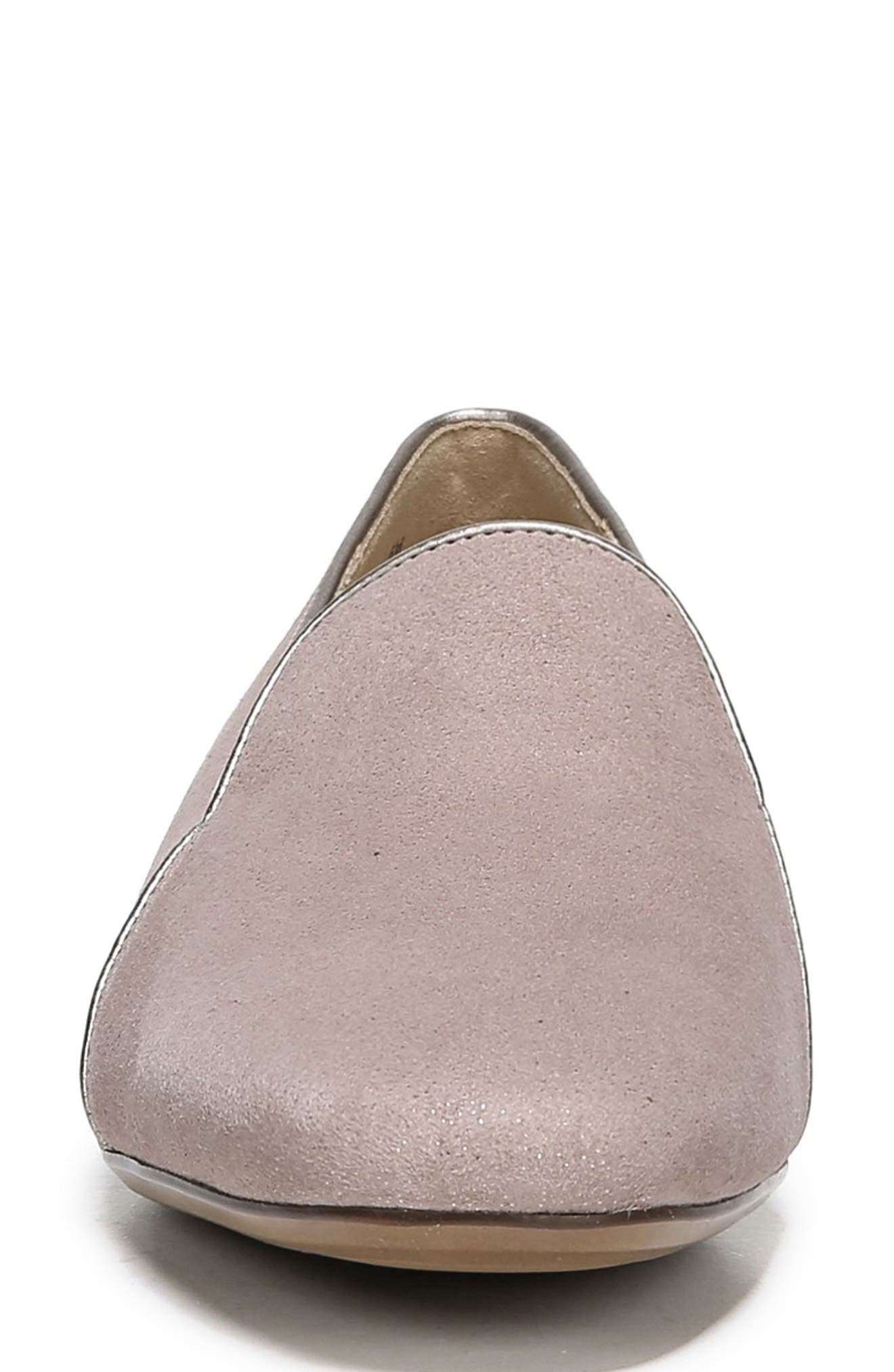 Emiline 2 Loafer,                             Alternate thumbnail 4, color,                             TAUPE GLITTER DUST SUEDE
