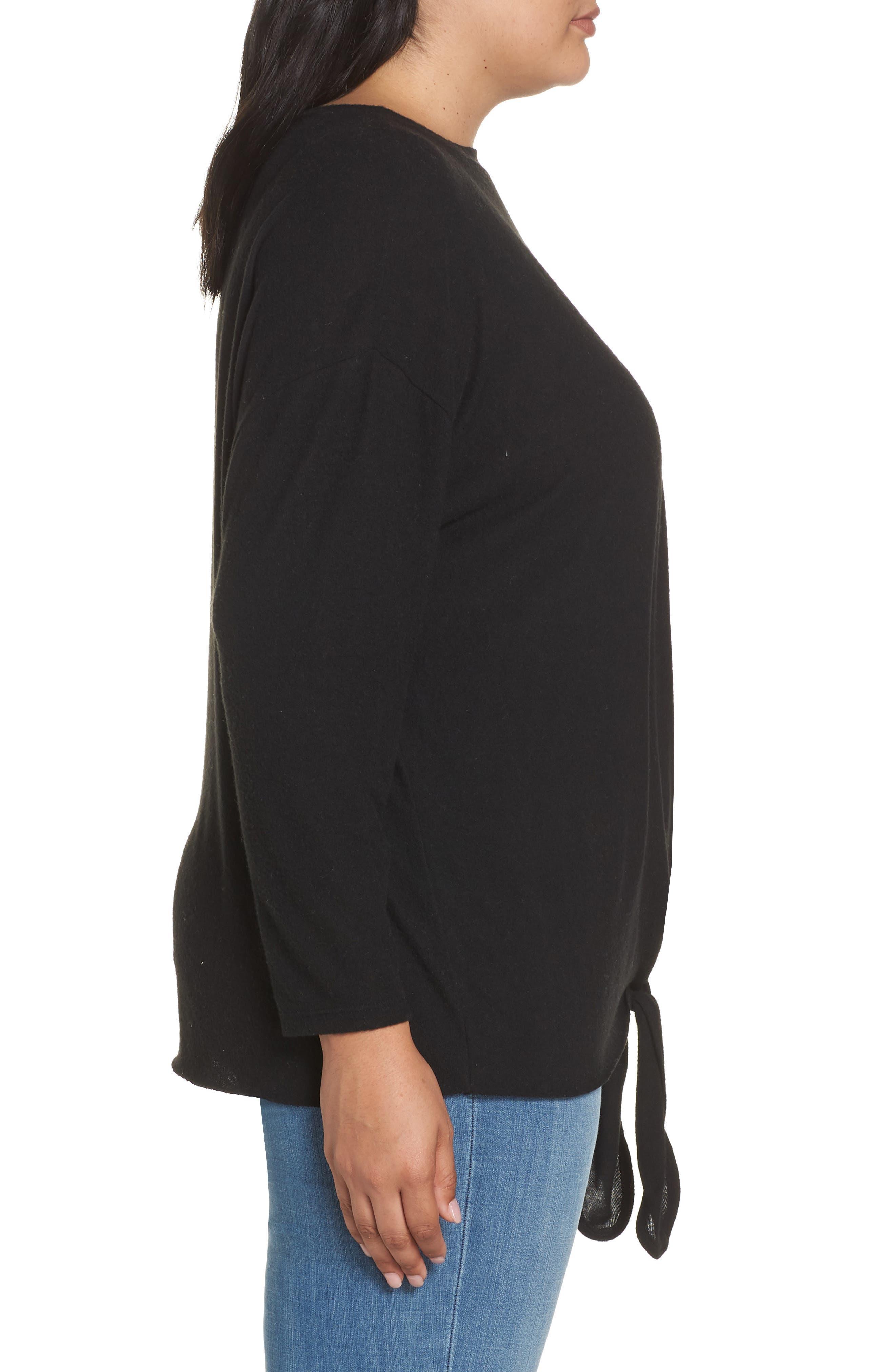 Fuzzy Tie Front Sweatshirt,                             Alternate thumbnail 3, color,                             BLACK