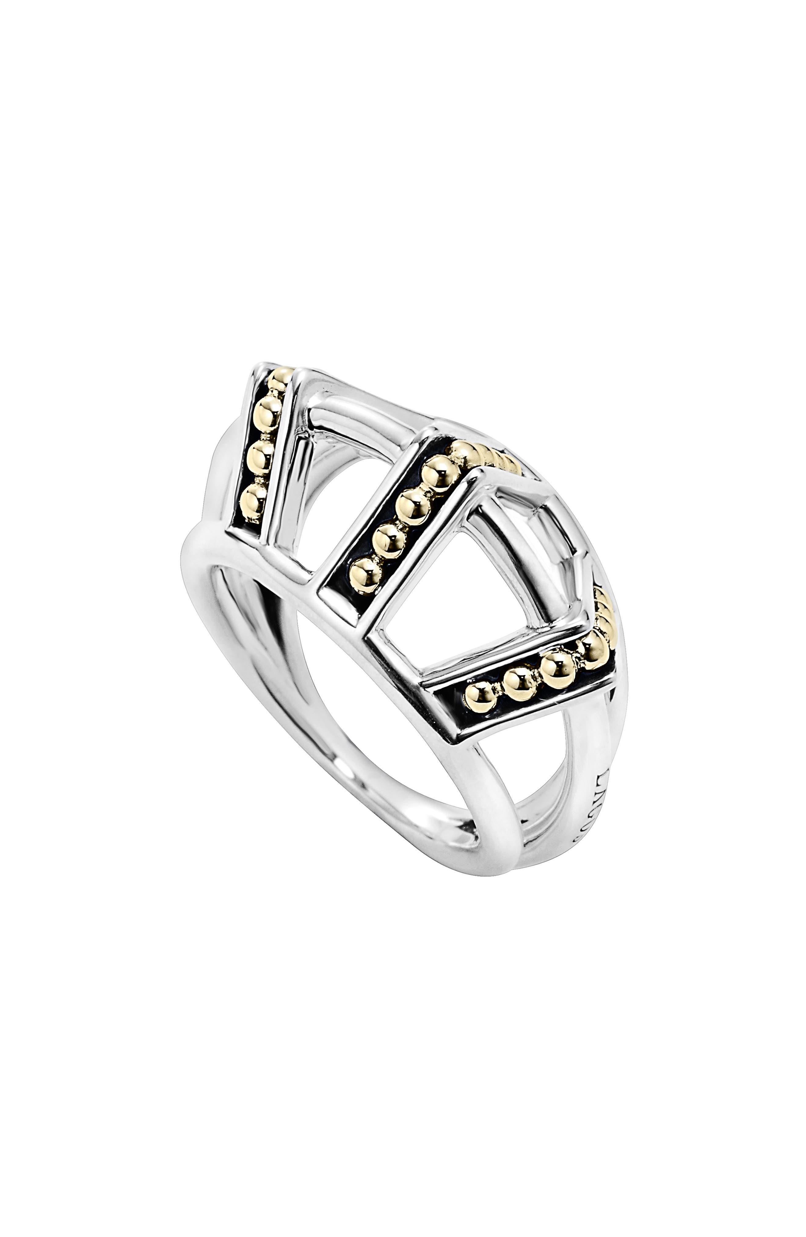 'KSL' Pyramid Ring,                             Alternate thumbnail 2, color,                             SILVER/ GOLD