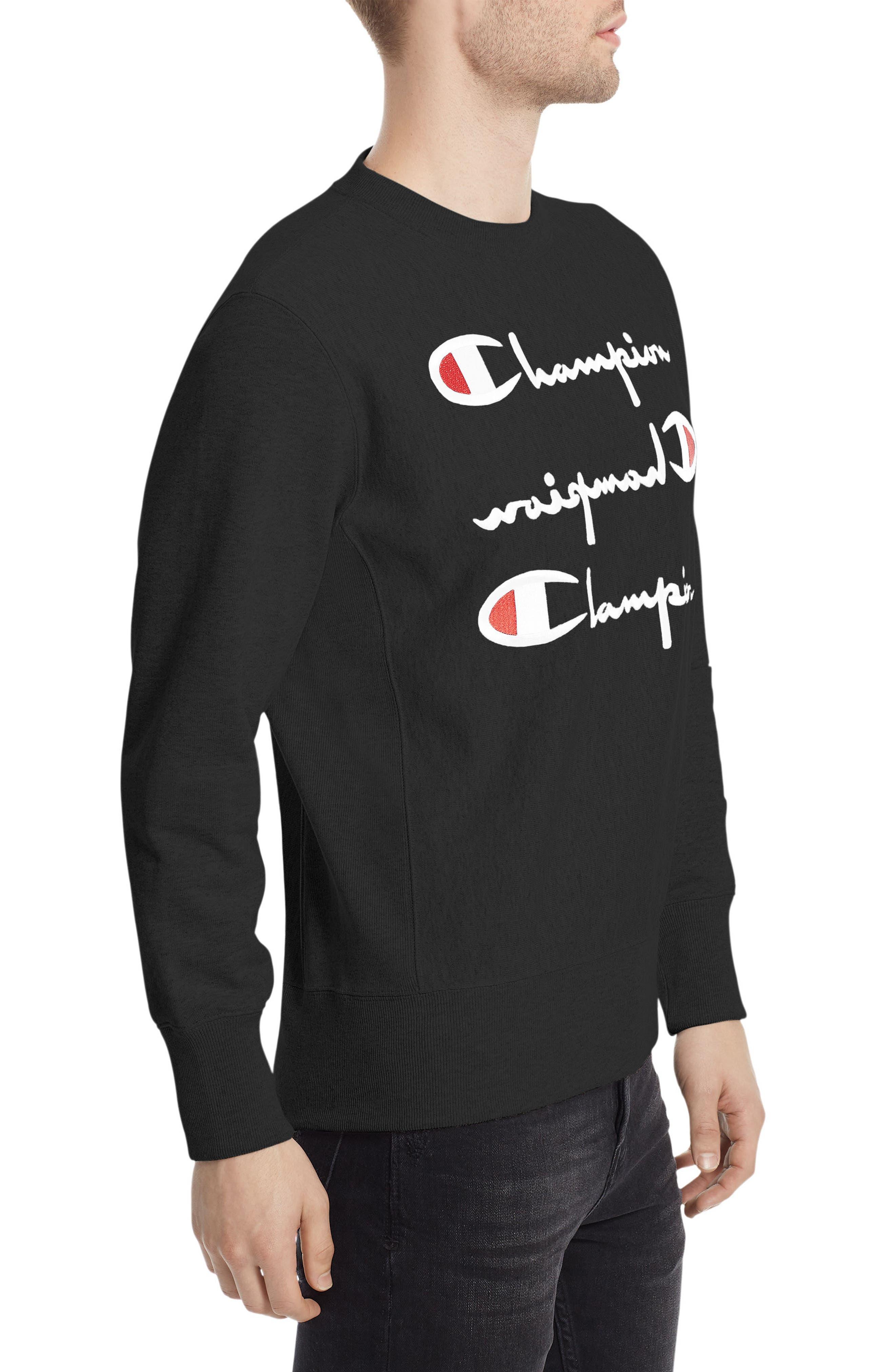 Reverse Weave<sup>®</sup> Logo Sweatshirt,                             Alternate thumbnail 3, color,                             001