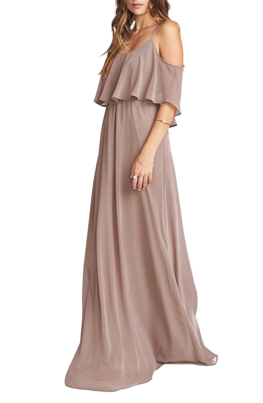 Caitlin Cold Shoulder Chiffon Gown,                             Main thumbnail 11, color,