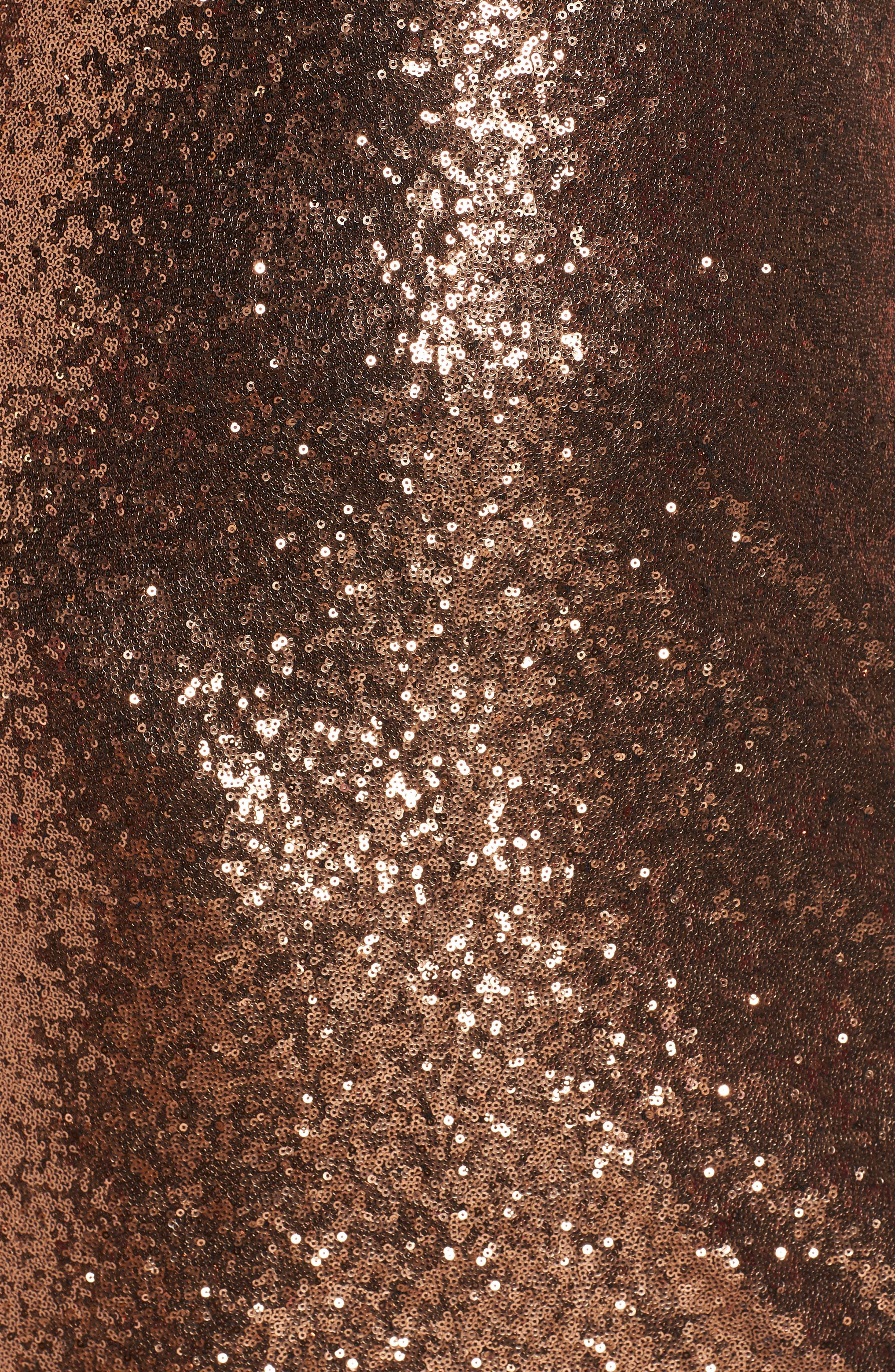 One Shoulder Sequin Party Dress,                             Alternate thumbnail 7, color,                             COPPER